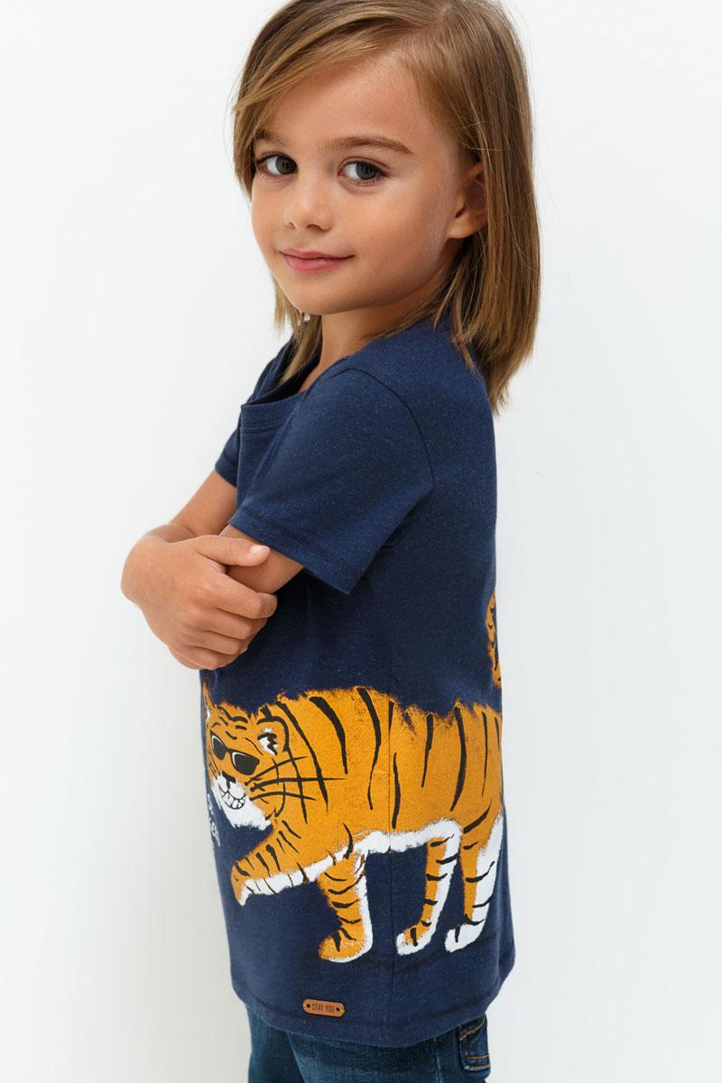 Футболка для мальчика Acoola Verona, цвет: темно-синий. 20120110080. Размер 10420120110080Футболка для мальчика Acoola выполнена из натурального хлопка. Модель с круглым вырезом горловины и короткими рукавами.