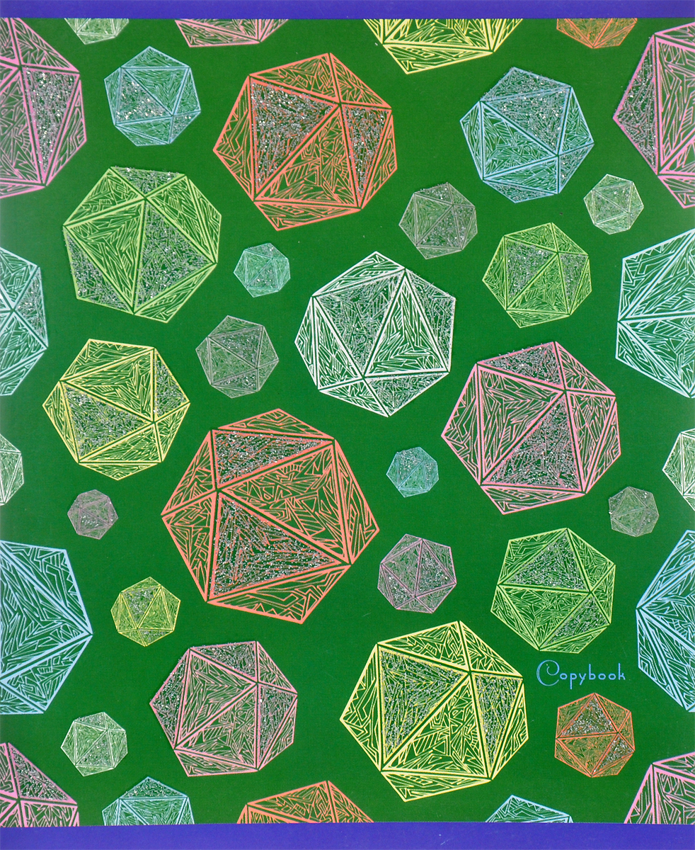 Канц-Эксмо Тетрадь Блестящие грани 48 листов в клетку цвет зеленыйТКБ485346_зеленыйКанц-Эксмо Тетрадь Блестящие грани 48 листов в клетку цвет зеленый