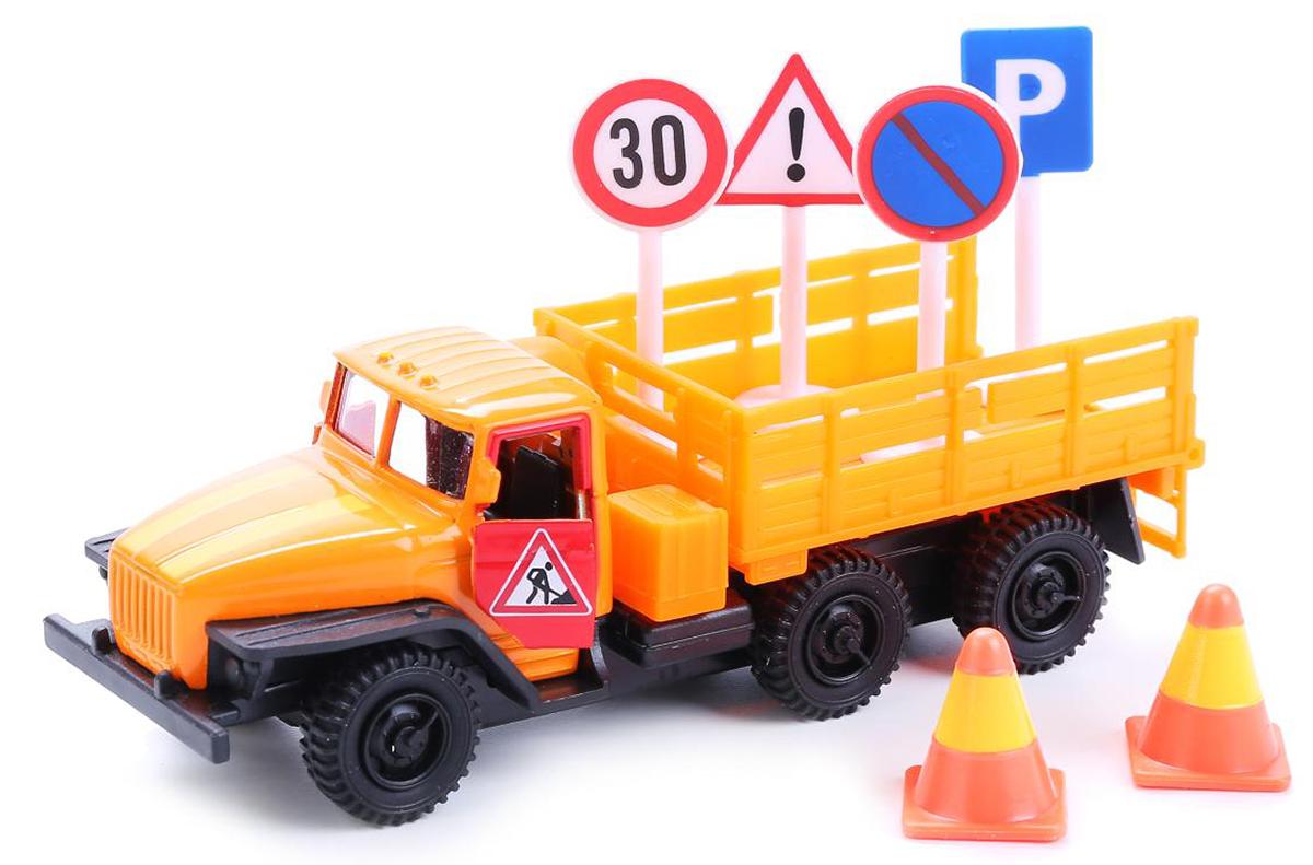 ТехноПарк Модель автомобиля Урал с дорожными знаками технопарк модель автомобиля газель дорожные работы