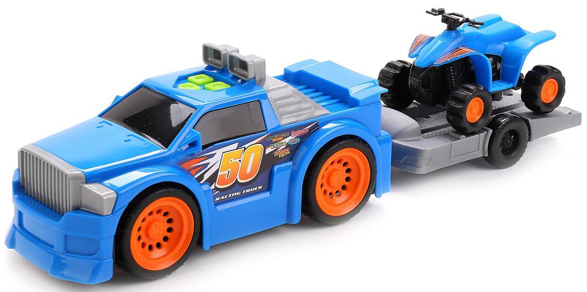 Toystate Машина с мотоциклом/квадроциклом на прицепе - Транспорт, машинки