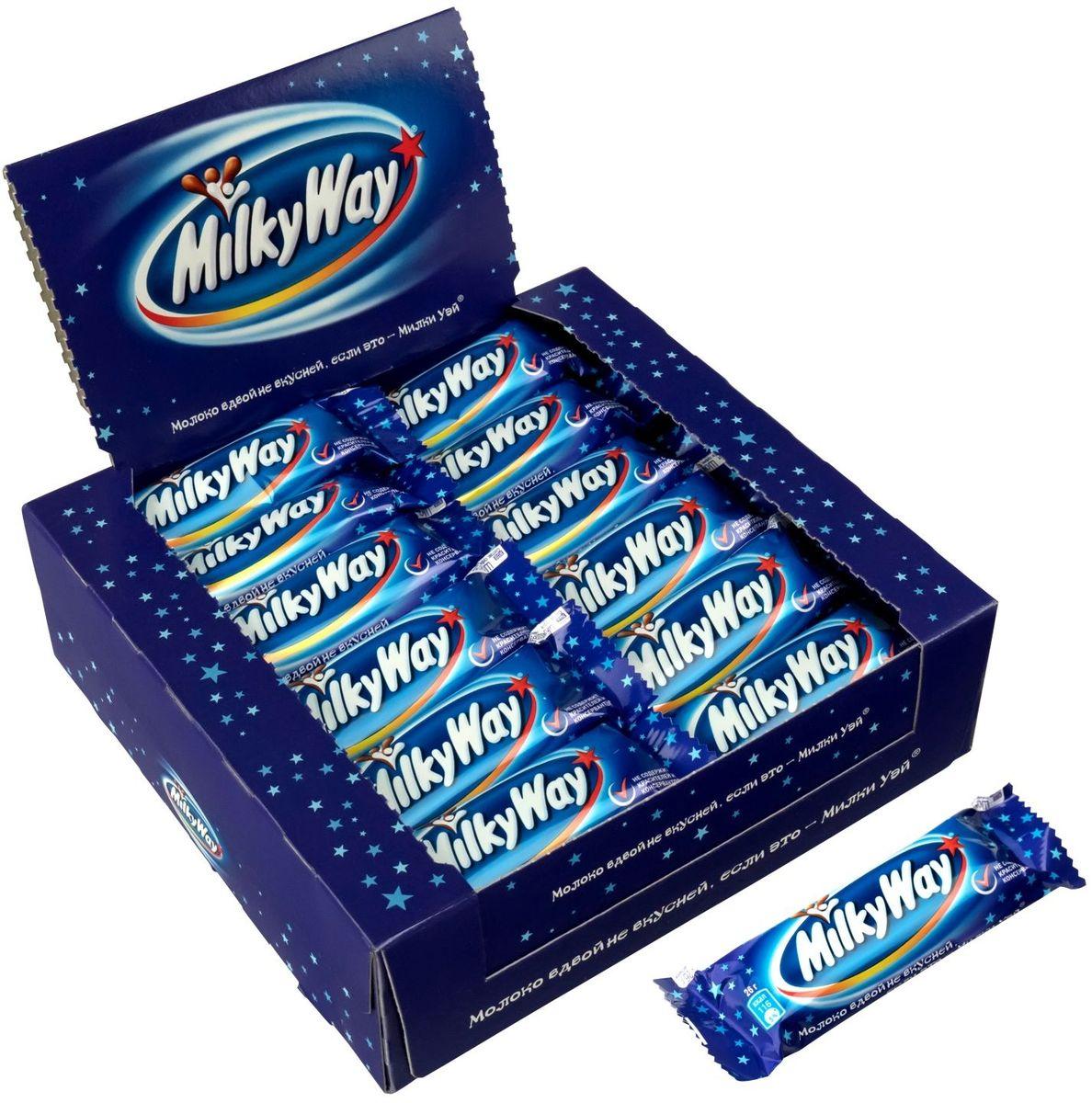 Milky way шоколадный батончик, 36 шт по 26 г79010002Батончик MILKY WAY состоит из нуги, которая намного легче молока. Молочный шоколад, которым покрыт батончик, делает вкус MILKY WAY незабываемо нежным. Порадуйте юных сладкоежек!