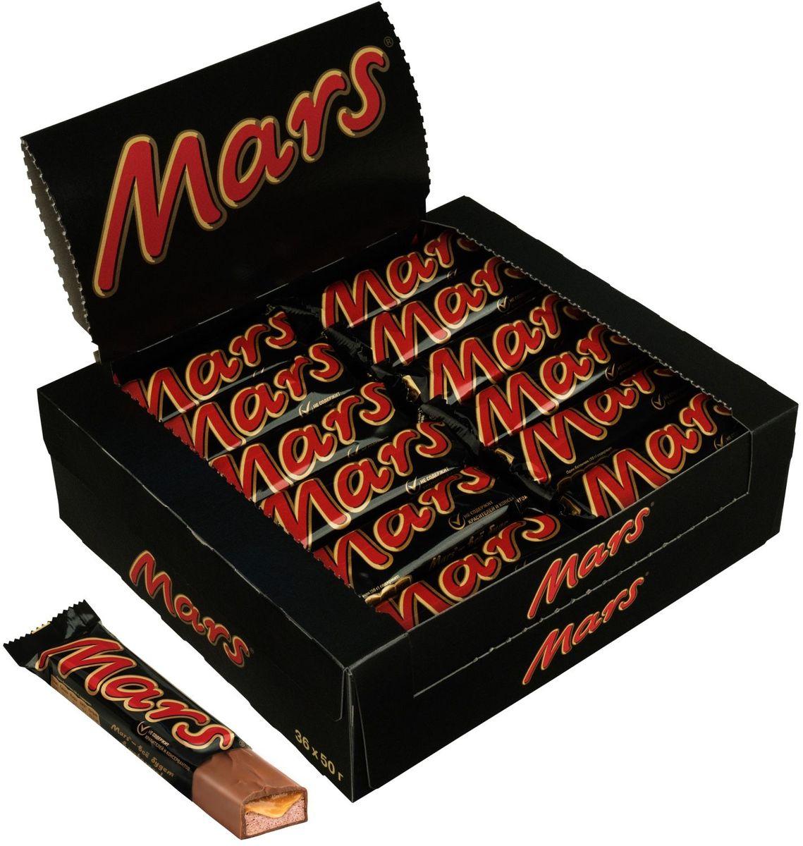 Mars шоколадный батончик, 36 шт по 50 г79009001Батончик MARS - это уникальное сочетание нуги, карамели и лучшего молочного шоколада, отличный способ перекусить с удовольствием