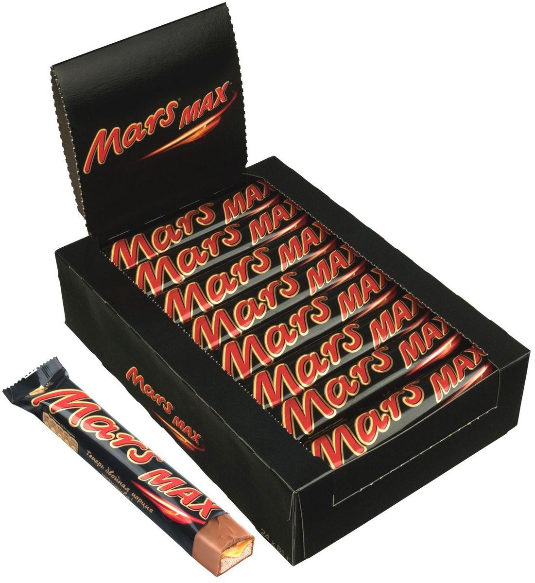 Mars Max шоколадный батончик, 24 шт по 81 г рубар протеиновый батончик с семенами чиа и спирулиной 30гр organic