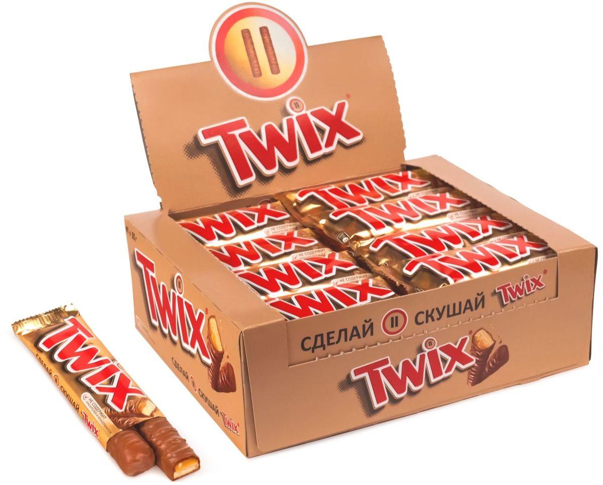 Twix шоколадный батончик, 40 шт по 55 г пудовъ кисель молочный шоколадный 40 г