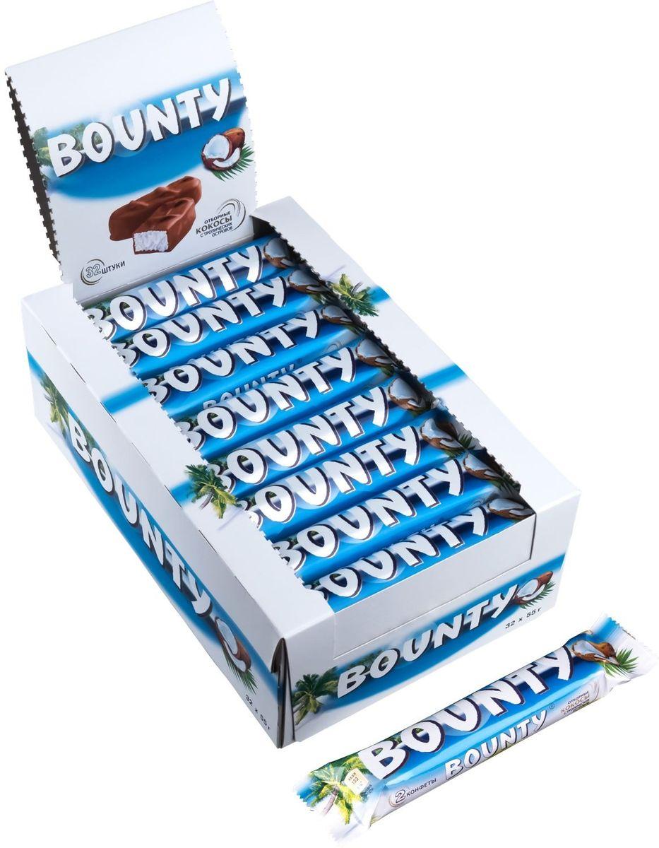 Bounty шоколадный батончик, 32 шт по 55 г79007030BOUNTY - это нежнейшая мякоть кокоса, покрытая молочным шоколадом, изготовленным из отборных ингредиентов. Съешь BOUNTY и представь, что находишься на тропическом острове, забудь заботы и тревоги, получи райское наслаждение.