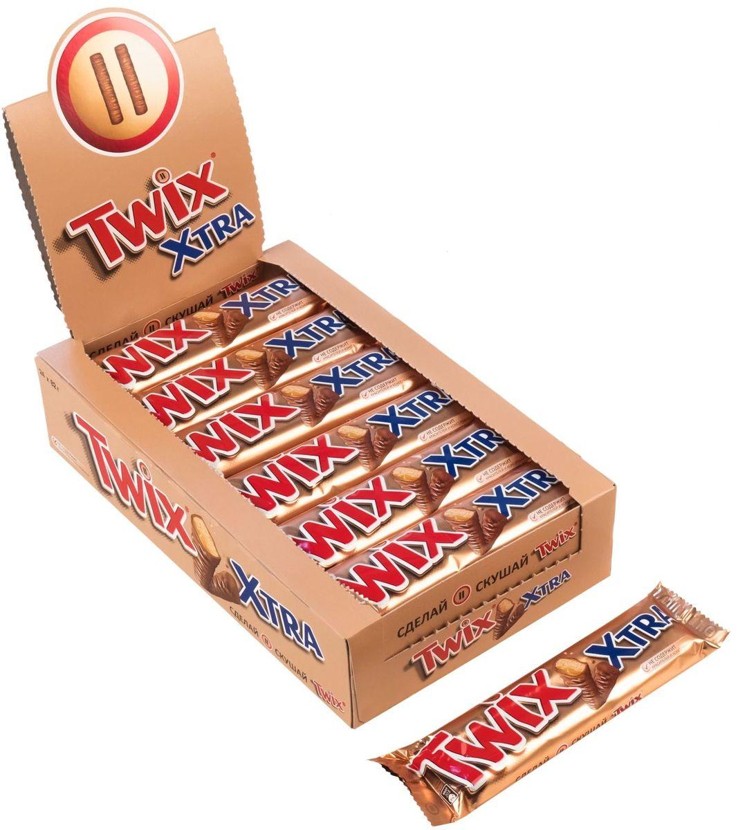 Twix Xtra шоколадный батончик, 24 шт по 82 г paw patrol шоколадные медали 21 г по 24 шт
