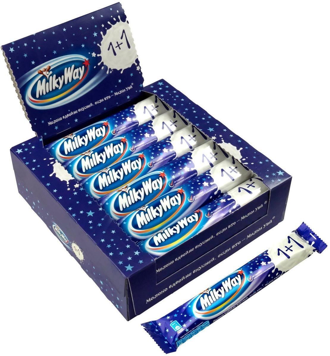 Milky way 1+1 шоколадный батончик,18 шт по 52 г79010004Батончик MILKY WAY 1+1 состоит из нуги, которая намного легче молока. Молочный шоколад, которым покрыт батончик, делает вкус MILKY WAY незабываемо нежным. Порадуйте юных сладкоежек!