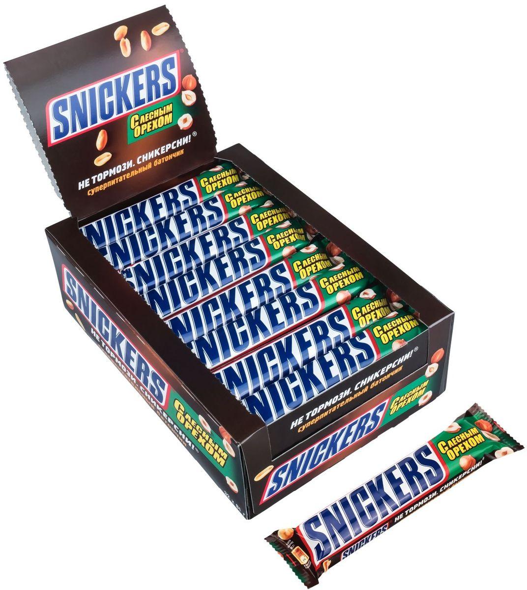 Snickers Лесной орех шоколадный батончик, 32 шт по 81 г купить snickers protein