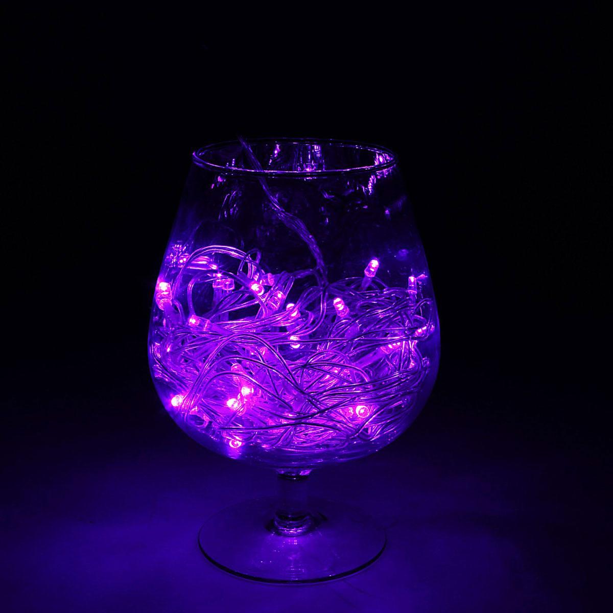 Гирлянда светодиодная Luazon Метраж, уличная, 8 режимов, 52 лампы, 220 V, 5 м, цвет: фиолетовый. 1079985 гирлянда luazon дождь 2m 6m multicolor 671678