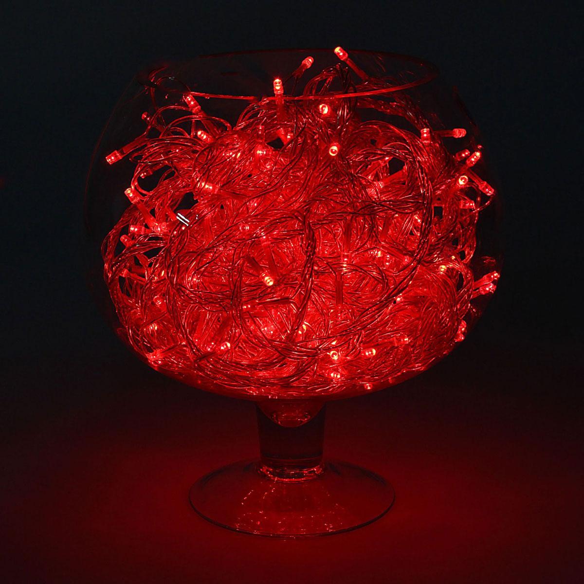 Гирлянда светодиодная Luazon Метраж, уличная, 8 режимов, 200 ламп, 220 V, 20 м, цвет: красный. 1080008 гирлянда luazon дождь 2m 6m multicolor 671678