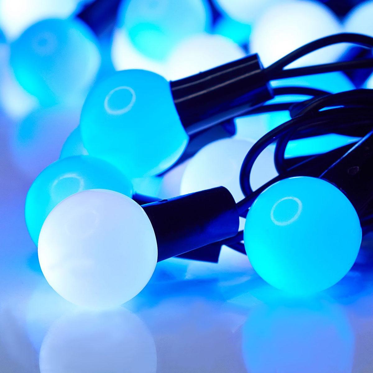 Гирлянда светодиодная Luazon Метраж. Шарики большие, уличная с насадкой, моргает, 50 ламп, 220 V, 6 м, цвет: синий. 10800471080047Светодиодные гирлянды, ленты и т.д. — это отличный вариант для новогоднего оформления интерьера или фасада. С их помощью помещение любого размера можно превратить в праздничный зал, а внешние элементы зданий, украшенные ими, мгновенно станут напоминать очертания сказочного дворца. Такие украшения создают ауру предвкушения чуда. Деревья, фасады, витрины, окна и арки будто специально созданы, чтобы вы украсили их светящимися нитями.