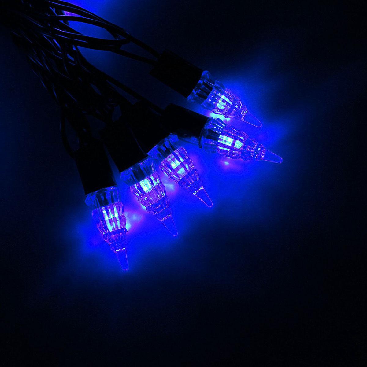Гирлянда светодиодная Luazon Метраж. Конус, уличная с насадкой, фиксинг, 40 ламп, 220 V, 5 м, цвет: синий. 10800551080055Светодиодные гирлянды, ленты и т.д. — это отличный вариант для новогоднего оформления интерьера или фасада. С их помощью помещение любого размера можно превратить в праздничный зал, а внешние элементы зданий, украшенные ими, мгновенно станут напоминать очертания сказочного дворца. Такие украшения создают ауру предвкушения чуда. Деревья, фасады, витрины, окна и арки будто специально созданы, чтобы вы украсили их светящимися нитями.