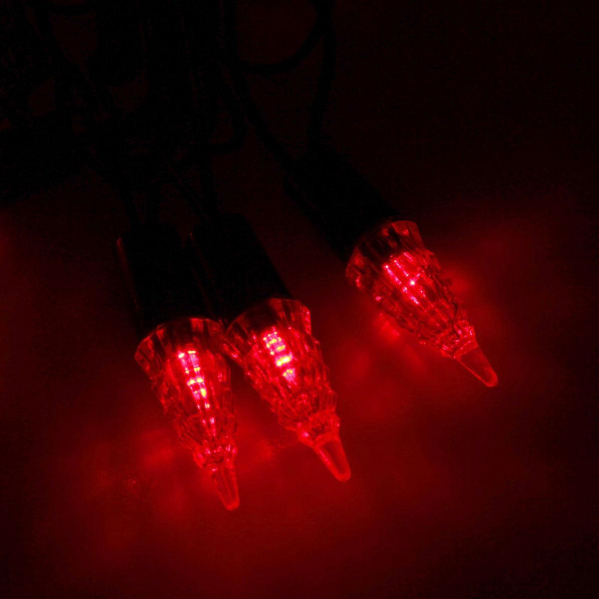 Гирлянда светодиодная Luazon Метраж. Конус, уличная с насадкой, фиксинг, 40 ламп, 220 V, 5 м, цвет: красный. 10800561080056Светодиодные гирлянды, ленты и т.д. — это отличный вариант для новогоднего оформления интерьера или фасада. С их помощью помещение любого размера можно превратить в праздничный зал, а внешние элементы зданий, украшенные ими, мгновенно станут напоминать очертания сказочного дворца. Такие украшения создают ауру предвкушения чуда. Деревья, фасады, витрины, окна и арки будто специально созданы, чтобы вы украсили их светящимися нитями.