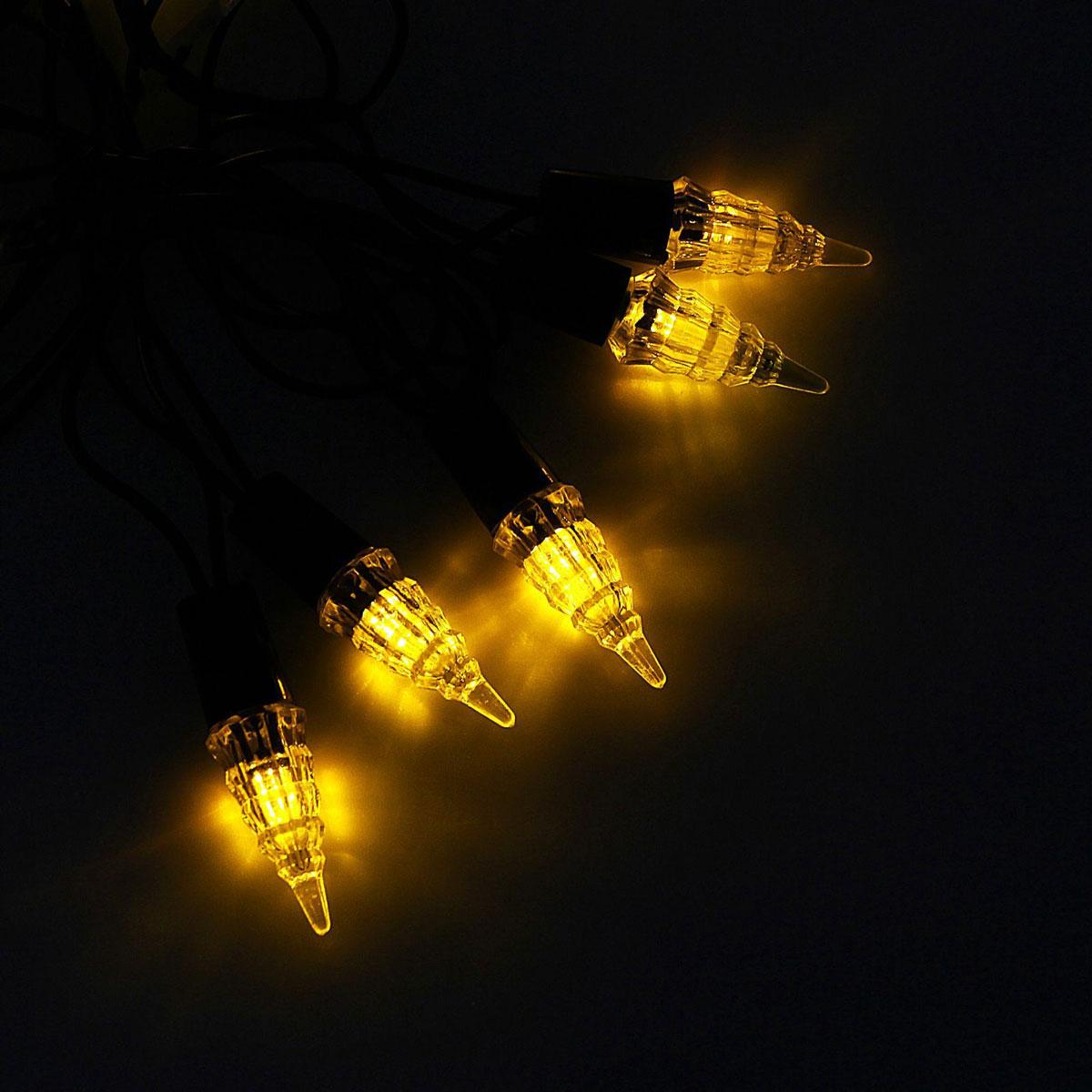 Гирлянда светодиодная Luazon Метраж. Конус, уличная с насадкой, фиксинг, 40 ламп, 220 V, 5 м, цвет: желтый. 10800581080058Светодиодные гирлянды, ленты и т.д. — это отличный вариант для новогоднего оформления интерьера или фасада. С их помощью помещение любого размера можно превратить в праздничный зал, а внешние элементы зданий, украшенные ими, мгновенно станут напоминать очертания сказочного дворца. Такие украшения создают ауру предвкушения чуда. Деревья, фасады, витрины, окна и арки будто специально созданы, чтобы вы украсили их светящимися нитями.