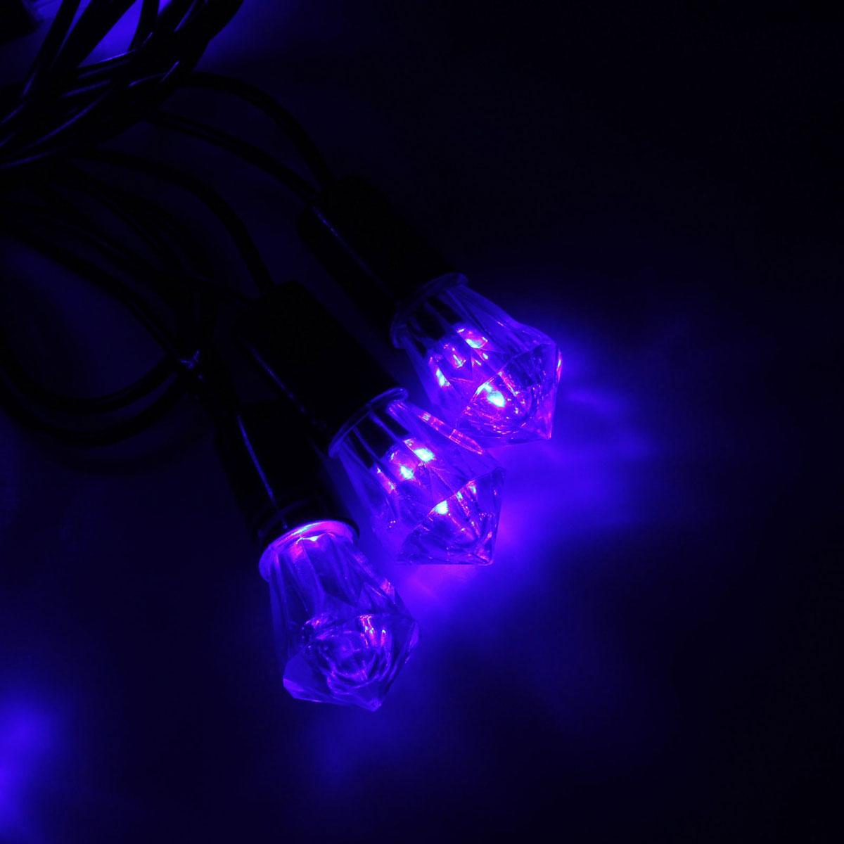 Гирлянда светодиодная Luazon Метраж. Хрусталь, уличная с насадкой, фиксинг, 40 ламп, 220 V, 5 м, цвет: синий. 10800641080064Светодиодные гирлянды, ленты и т.д. — это отличный вариант для новогоднего оформления интерьера или фасада. С их помощью помещение любого размера можно превратить в праздничный зал, а внешние элементы зданий, украшенные ими, мгновенно станут напоминать очертания сказочного дворца. Такие украшения создают ауру предвкушения чуда. Деревья, фасады, витрины, окна и арки будто специально созданы, чтобы вы украсили их светящимися нитями.