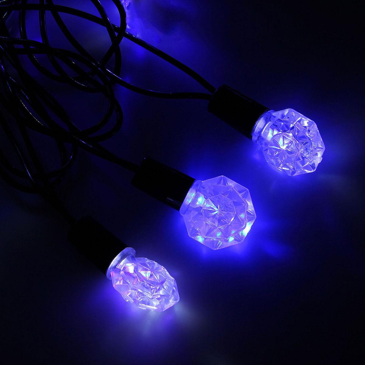 Гирлянда светодиодная Luazon Метраж. Грани, уличная с насадкой, моргает, 40 ламп, 220 V, 5 м, цвет: синий. 1080070