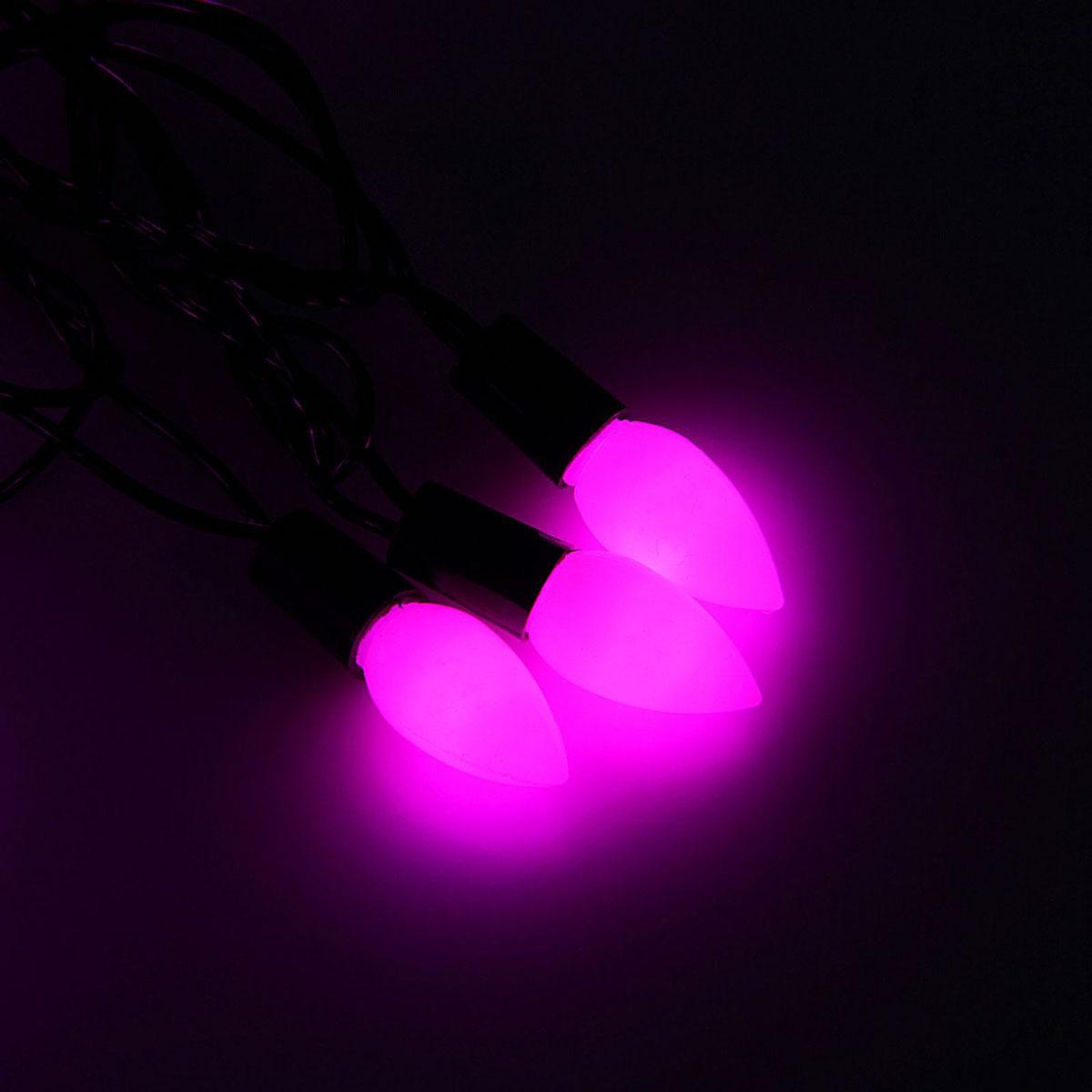 Гирлянда светодиодная Luazon Метраж. Свечка матовая, уличная с насадкой, 8 режимов, 40 ламп, 220 V, 5 м, цвет: розовый. 10800871080087Светодиодные гирлянды, ленты и т.д. — это отличный вариант для новогоднего оформления интерьера или фасада. С их помощью помещение любого размера можно превратить в праздничный зал, а внешние элементы зданий, украшенные ими, мгновенно станут напоминать очертания сказочного дворца. Такие украшения создают ауру предвкушения чуда. Деревья, фасады, витрины, окна и арки будто специально созданы, чтобы вы украсили их светящимися нитями.