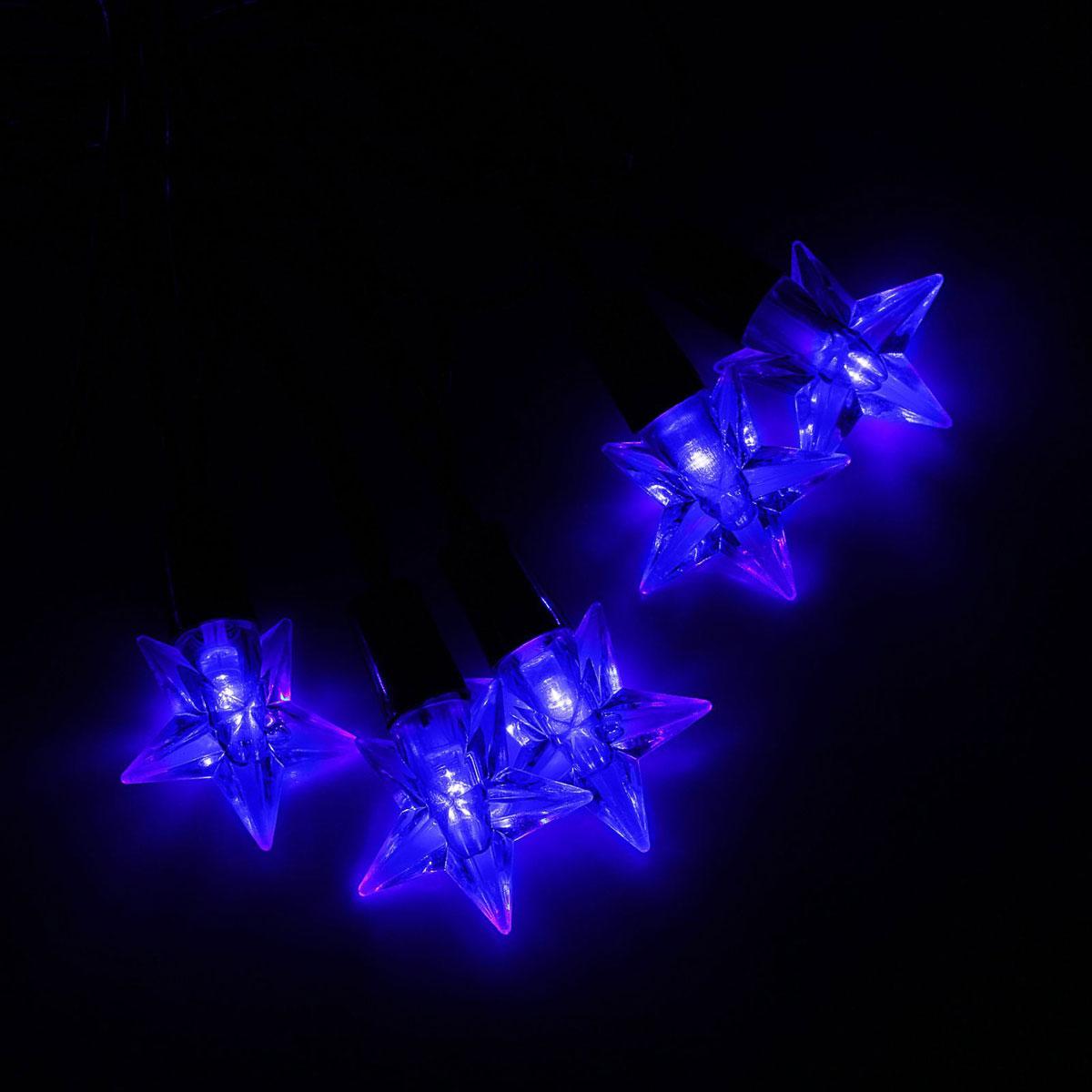 Гирлянда светодиодная Luazon Метраж. Звезда средняя, уличная с насадкой, 8 режимов, 40 ламп, 220 V, 5 м, цвет: синий. 10801001080100Светодиодные гирлянды, ленты и т.д. — это отличный вариант для новогоднего оформления интерьера или фасада. С их помощью помещение любого размера можно превратить в праздничный зал, а внешние элементы зданий, украшенные ими, мгновенно станут напоминать очертания сказочного дворца. Такие украшения создают ауру предвкушения чуда. Деревья, фасады, витрины, окна и арки будто специально созданы, чтобы вы украсили их светящимися нитями.