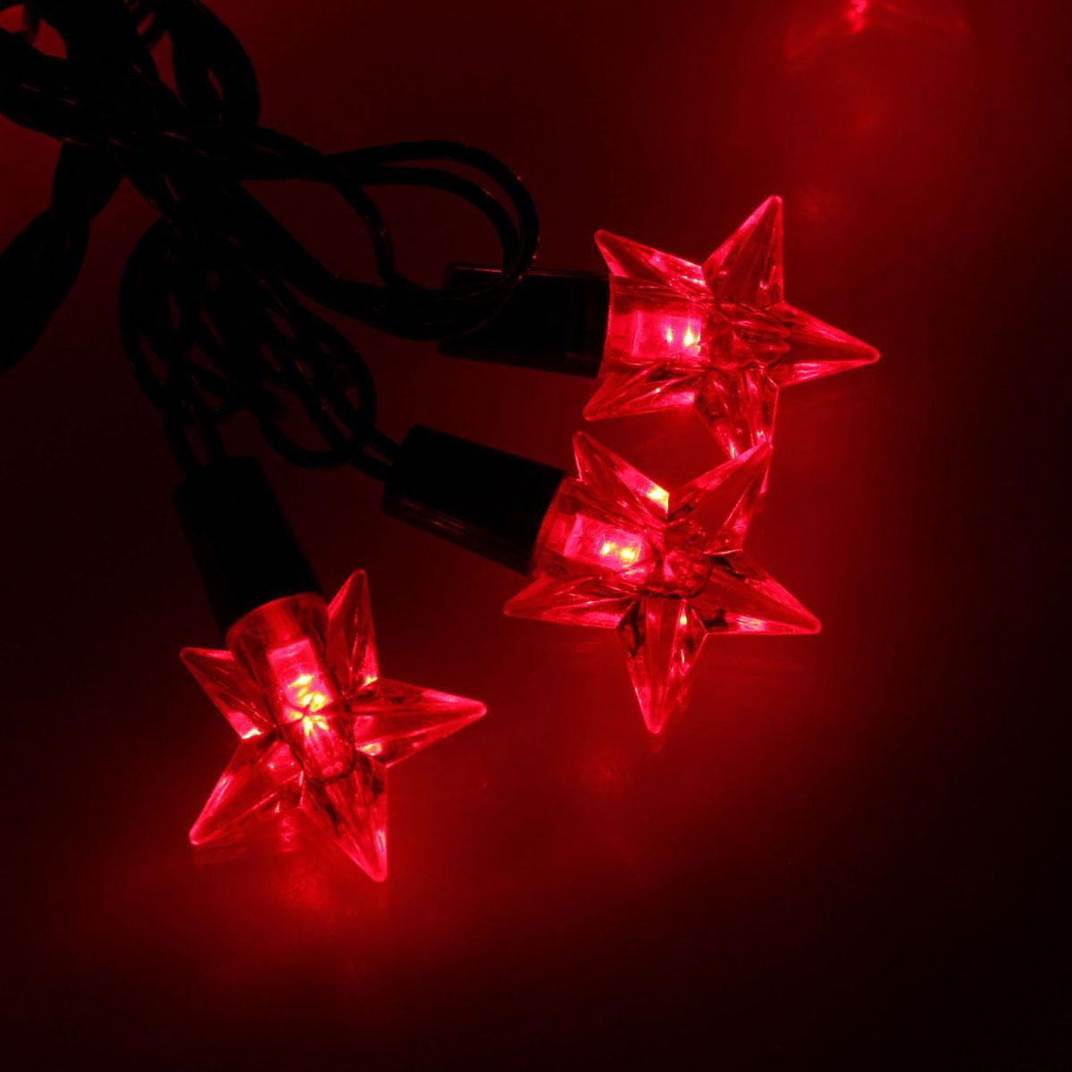 Гирлянда светодиодная Luazon Метраж. Звезда средняя, уличная с насадкой, 8 режимов, 40 ламп, 220 V, 5 м, цвет: красный. 10801011080101Светодиодные гирлянды, ленты и т.д. — это отличный вариант для новогоднего оформления интерьера или фасада. С их помощью помещение любого размера можно превратить в праздничный зал, а внешние элементы зданий, украшенные ими, мгновенно станут напоминать очертания сказочного дворца. Такие украшения создают ауру предвкушения чуда. Деревья, фасады, витрины, окна и арки будто специально созданы, чтобы вы украсили их светящимися нитями.