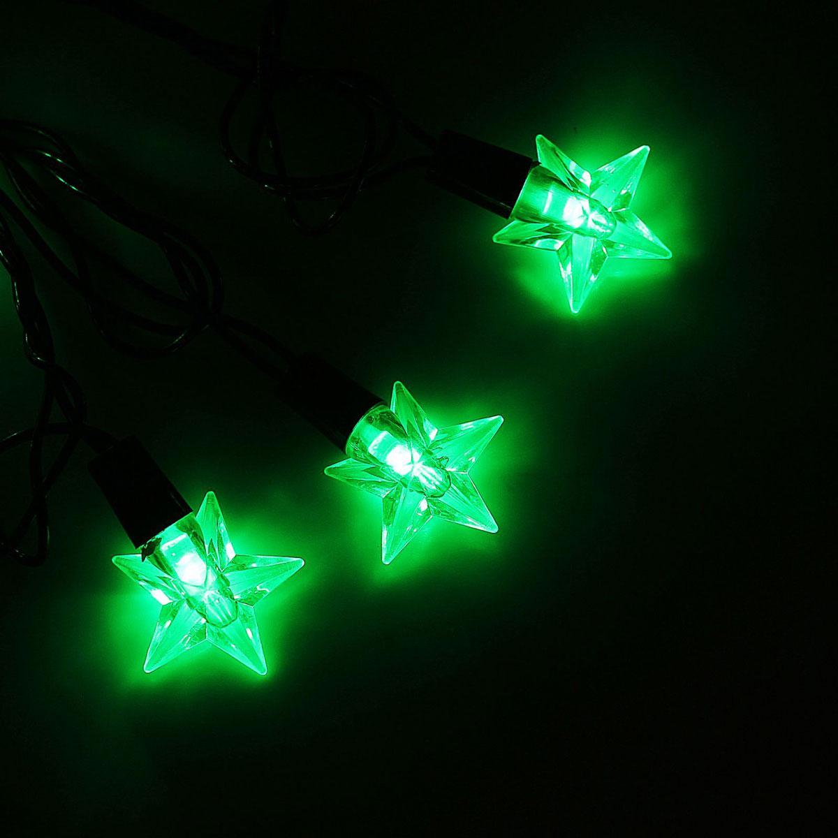 Гирлянда светодиодная Luazon Метраж. Звезда средняя, уличная с насадкой, 8 режимов, 40 ламп, 220 V, 5 м, цвет: зеленый. 10801021080102Светодиодные гирлянды, ленты и т.д. — это отличный вариант для новогоднего оформления интерьера или фасада. С их помощью помещение любого размера можно превратить в праздничный зал, а внешние элементы зданий, украшенные ими, мгновенно станут напоминать очертания сказочного дворца. Такие украшения создают ауру предвкушения чуда. Деревья, фасады, витрины, окна и арки будто специально созданы, чтобы вы украсили их светящимися нитями.