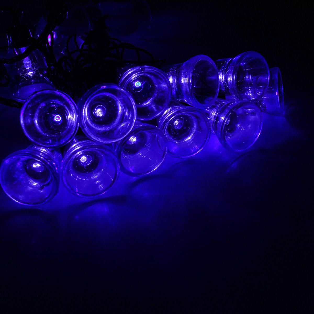 Гирлянда светодиодная Luazon Метраж. Колокол, уличная с насадкой, 8 режимов, 30 ламп, 220 V, 5 м, цвет: синий. 10801181080118Светодиодные гирлянды, ленты и т.д. — это отличный вариант для новогоднего оформления интерьера или фасада. С их помощью помещение любого размера можно превратить в праздничный зал, а внешние элементы зданий, украшенные ими, мгновенно станут напоминать очертания сказочного дворца. Такие украшения создают ауру предвкушения чуда. Деревья, фасады, витрины, окна и арки будто специально созданы, чтобы вы украсили их светящимися нитями.