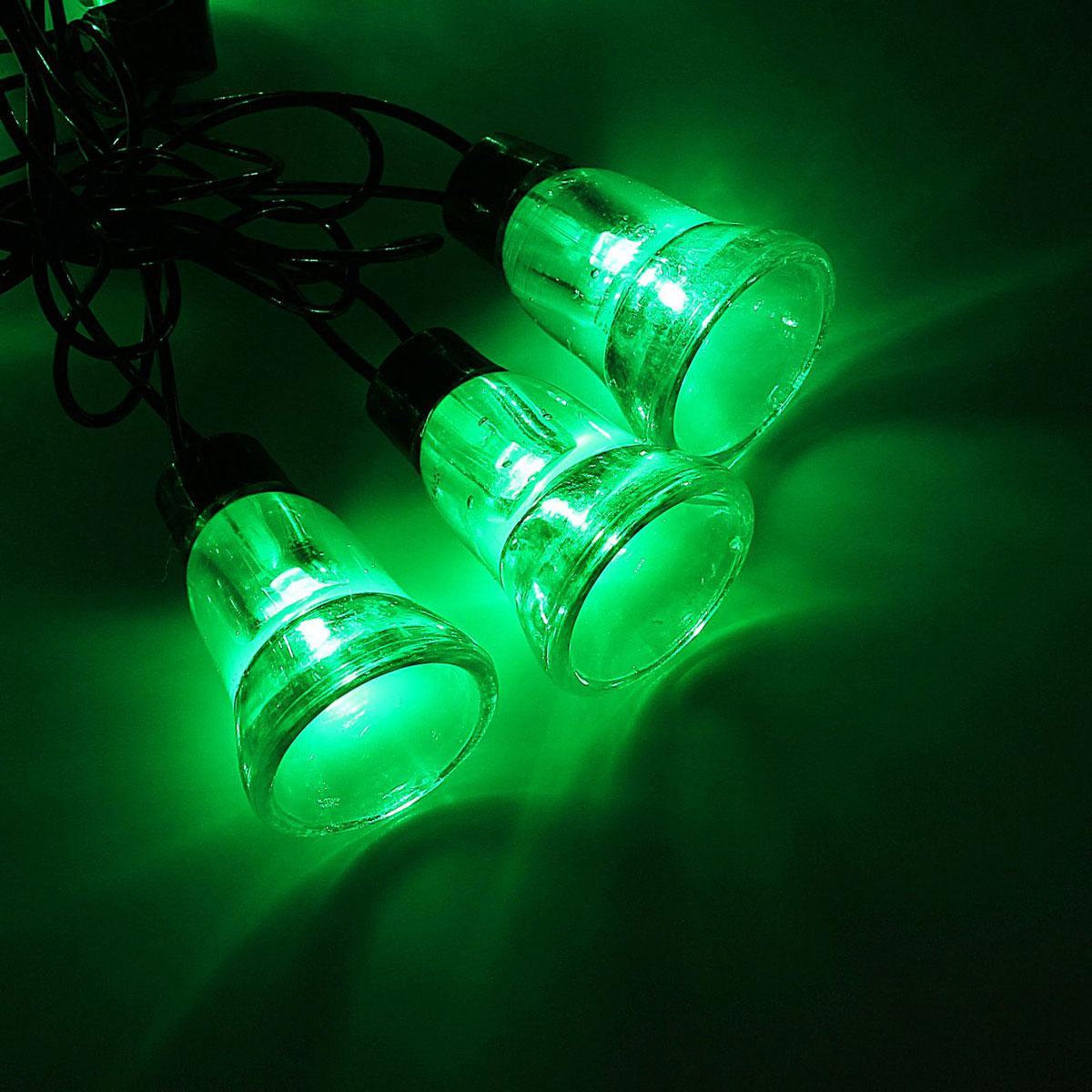 Гирлянда светодиодная Luazon Метраж. Колокол, уличная с насадкой, 8 режимов, 30 ламп, 220 V, 5 м, цвет: зеленый. 10801201080120Светодиодные гирлянды, ленты и т.д. — это отличный вариант для новогоднего оформления интерьера или фасада. С их помощью помещение любого размера можно превратить в праздничный зал, а внешние элементы зданий, украшенные ими, мгновенно станут напоминать очертания сказочного дворца. Такие украшения создают ауру предвкушения чуда. Деревья, фасады, витрины, окна и арки будто специально созданы, чтобы вы украсили их светящимися нитями.
