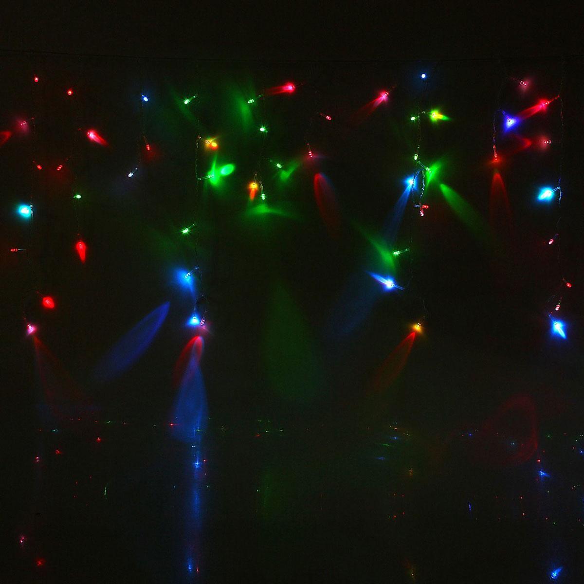 Гирлянда светодиодная Luazon Бахрома, уличная, моргает, 60 ламп, 220V, цвет: мультиколор, 1 х 0,6 м. 10801331080544Светодиодные гирлянды, ленты и т.д — это отличный вариант для новогоднего оформления интерьера или фасада. С их помощью помещение любого размера можно превратить в праздничный зал, а внешние элементы зданий, украшенные ими, мгновенно станут напоминать очертания сказочного дворца. Такие украшения создают ауру предвкушения чуда. Деревья, фасады, витрины, окна и арки будто специально созданы, чтобы вы украсили их светящимися нитями.