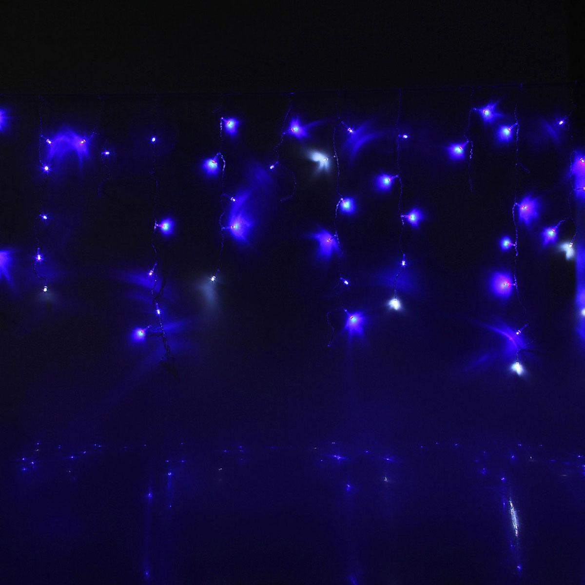 Гирлянда светодиодная Luazon Бахрома, уличная, мигание, 60 ламп, 220V, цвет: белый, синий, 1 х 0,6 м. 10801361080136Светодиодные гирлянды, ленты и т.д — это отличный вариант для новогоднего оформления интерьера или фасада. С их помощью помещение любого размера можно превратить в праздничный зал, а внешние элементы зданий, украшенные ими, мгновенно станут напоминать очертания сказочного дворца. Такие украшения создают ауру предвкушения чуда. Деревья, фасады, витрины, окна и арки будто специально созданы, чтобы вы украсили их светящимися нитями.