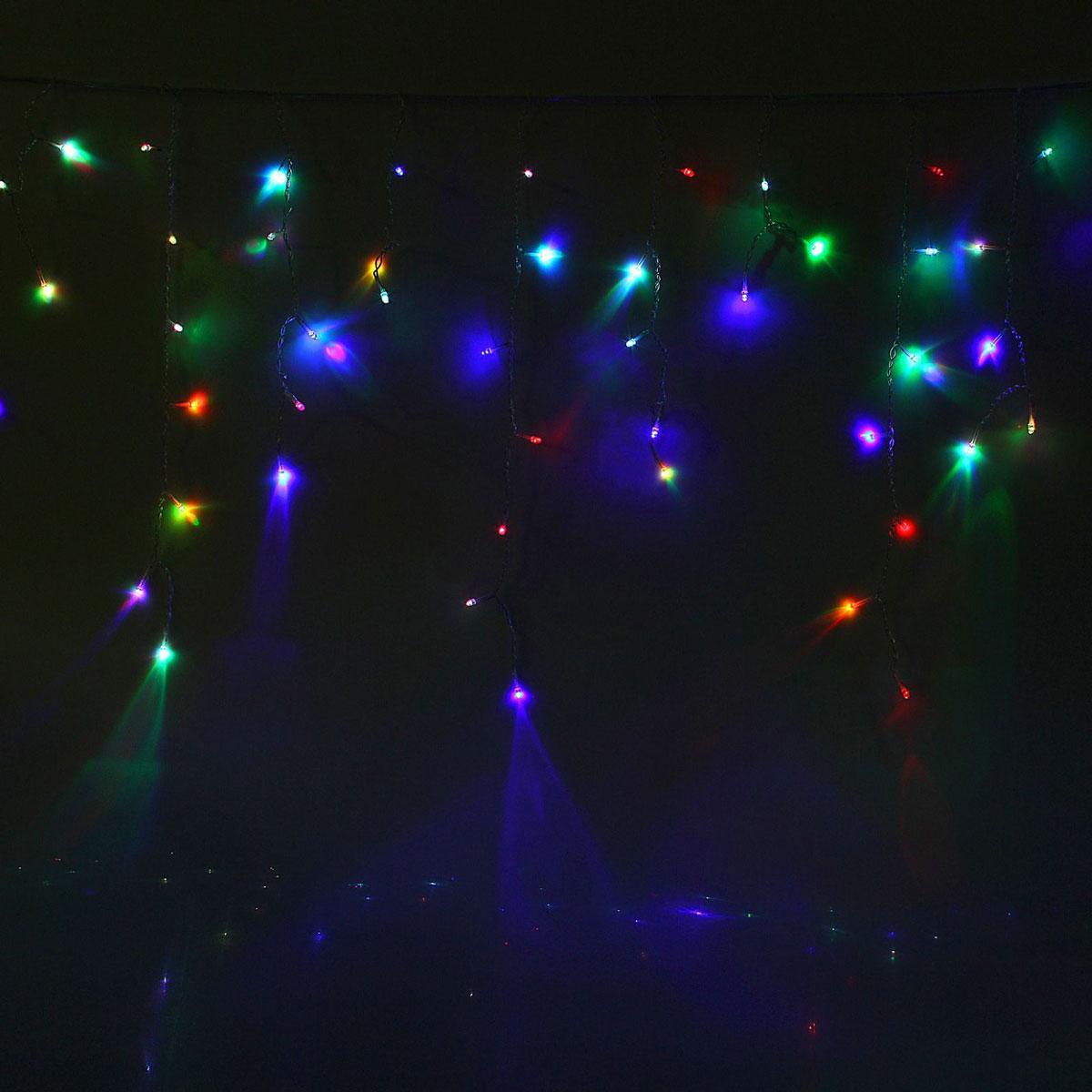 Гирлянда светодиодная Luazon Бахрома, уличная, моргает, 180 ламп, 220 V, цвет: мультиколор, 4 х 0,6 м. 10801551080155Светодиодные гирлянды, ленты и т.д — это отличный вариант для новогоднего оформления интерьера или фасада. С их помощью помещение любого размера можно превратить в праздничный зал, а внешние элементы зданий, украшенные ими, мгновенно станут напоминать очертания сказочного дворца. Такие украшения создают ауру предвкушения чуда. Деревья, фасады, витрины, окна и арки будто специально созданы, чтобы вы украсили их светящимися нитями.