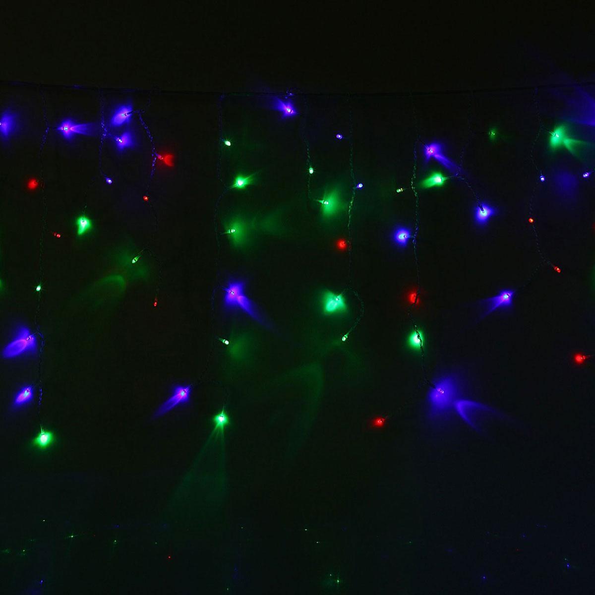 Гирлянда светодиодная Luazon Бахрома, уличная, 160 ламп, 220 V, цвет: мультиколор, 3 х 0,6 м. 10801641080164Светодиодные гирлянды, ленты и т.д — это отличный вариант для новогоднего оформления интерьера или фасада. С их помощью помещение любого размера можно превратить в праздничный зал, а внешние элементы зданий, украшенные ими, мгновенно станут напоминать очертания сказочного дворца. Такие украшения создают ауру предвкушения чуда. Деревья, фасады, витрины, окна и арки будто специально созданы, чтобы вы украсили их светящимися нитями.