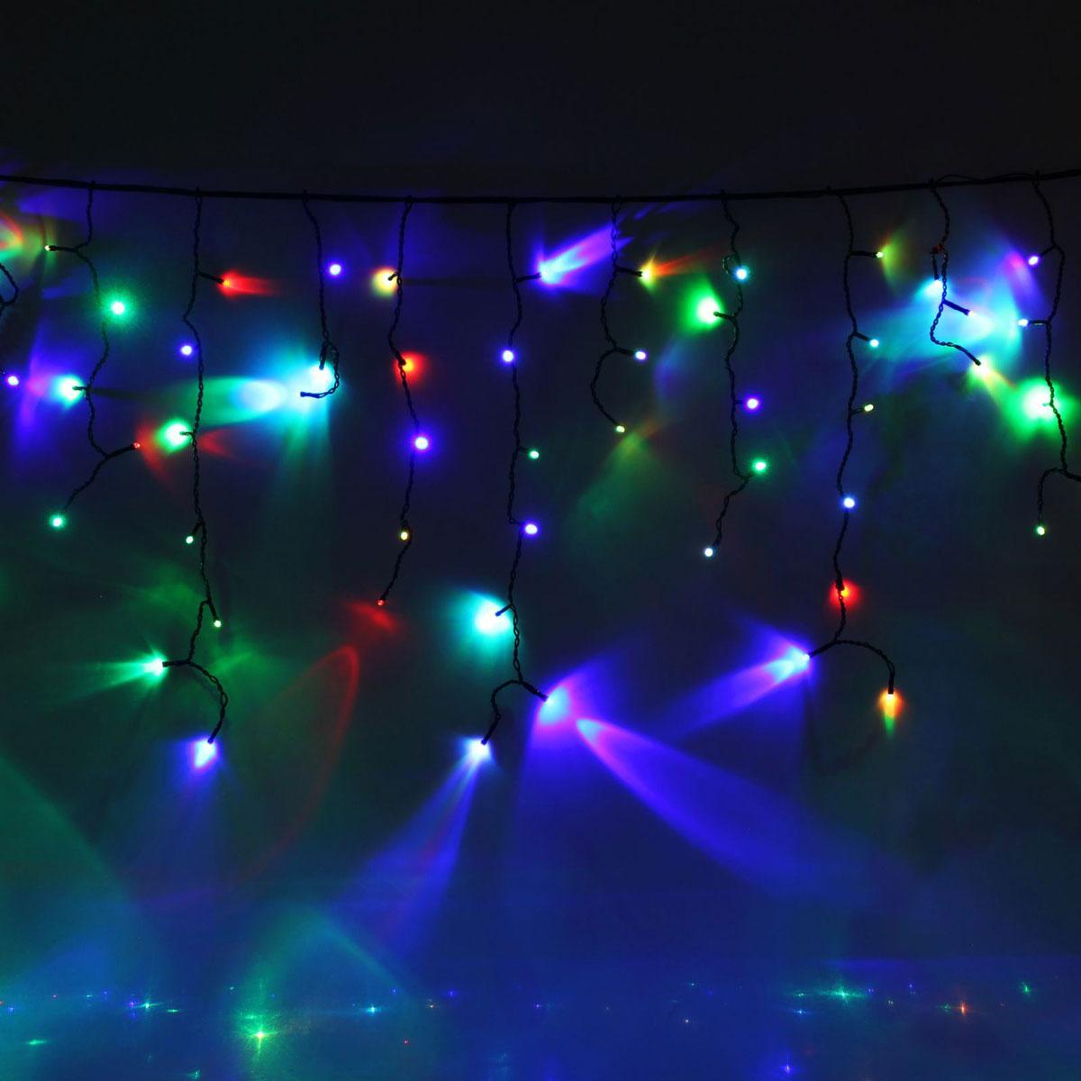 Гирлянда светодиодная Luazon Бахрома, уличная, 160 ламп, 220 V, цвет: мультиколор, 3 х 0,6 м. 10801701080170Светодиодные гирлянды, ленты и т.д — это отличный вариант для новогоднего оформления интерьера или фасада. С их помощью помещение любого размера можно превратить в праздничный зал, а внешние элементы зданий, украшенные ими, мгновенно станут напоминать очертания сказочного дворца. Такие украшения создают ауру предвкушения чуда. Деревья, фасады, витрины, окна и арки будто специально созданы, чтобы вы украсили их светящимися нитями.