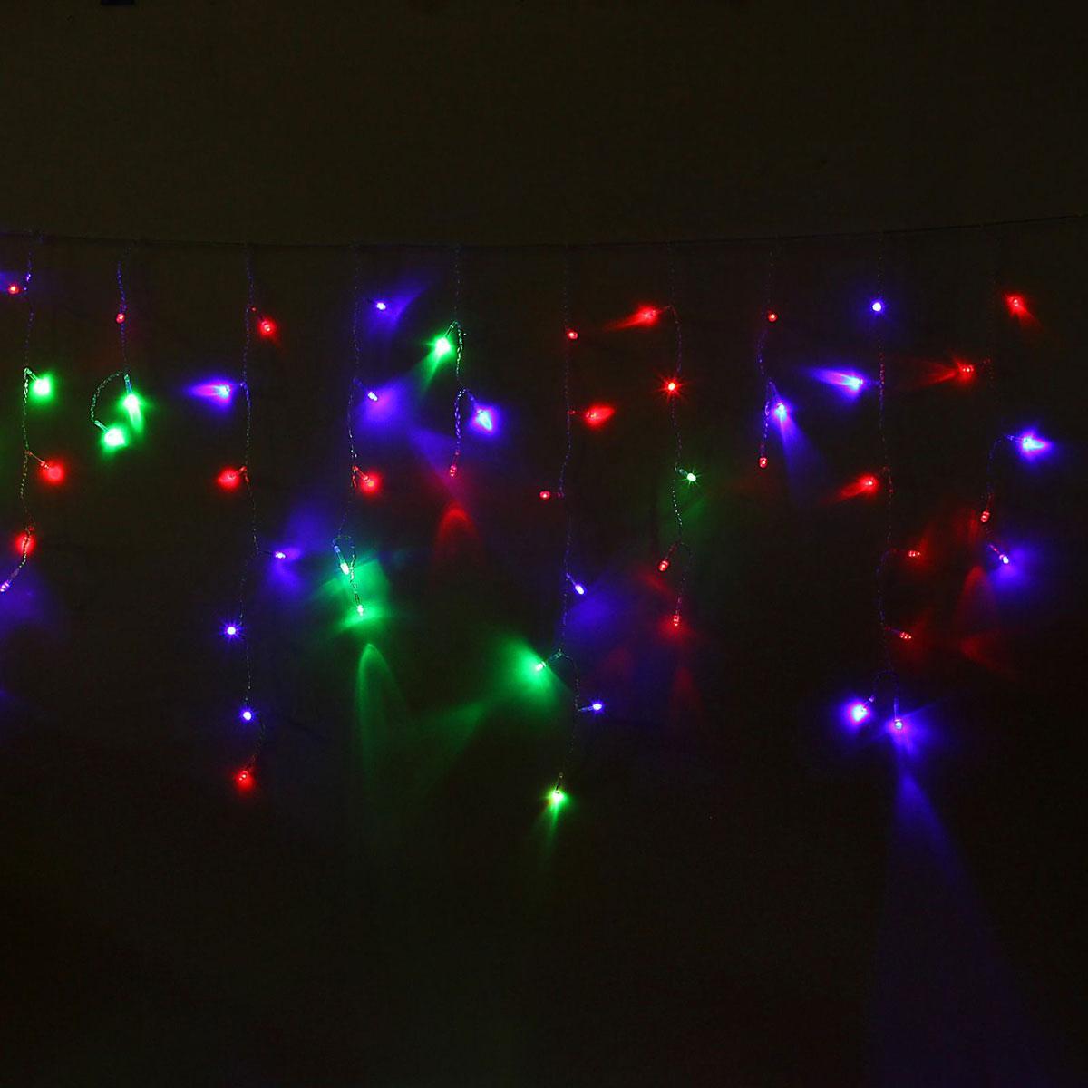 Гирлянда светодиодная Luazon Бахрома, моргает, 60 ламп, 220 V, цвет: мультиколор, 1,2 х 0,6 м. 10804071080407Светодиодные гирлянды, ленты и т.д — это отличный вариант для новогоднего оформления интерьера или фасада. С их помощью помещение любого размера можно превратить в праздничный зал, а внешние элементы зданий, украшенные ими, мгновенно станут напоминать очертания сказочного дворца. Такие украшения создают ауру предвкушения чуда. Деревья, фасады, витрины, окна и арки будто специально созданы, чтобы вы украсили их светящимися нитями.