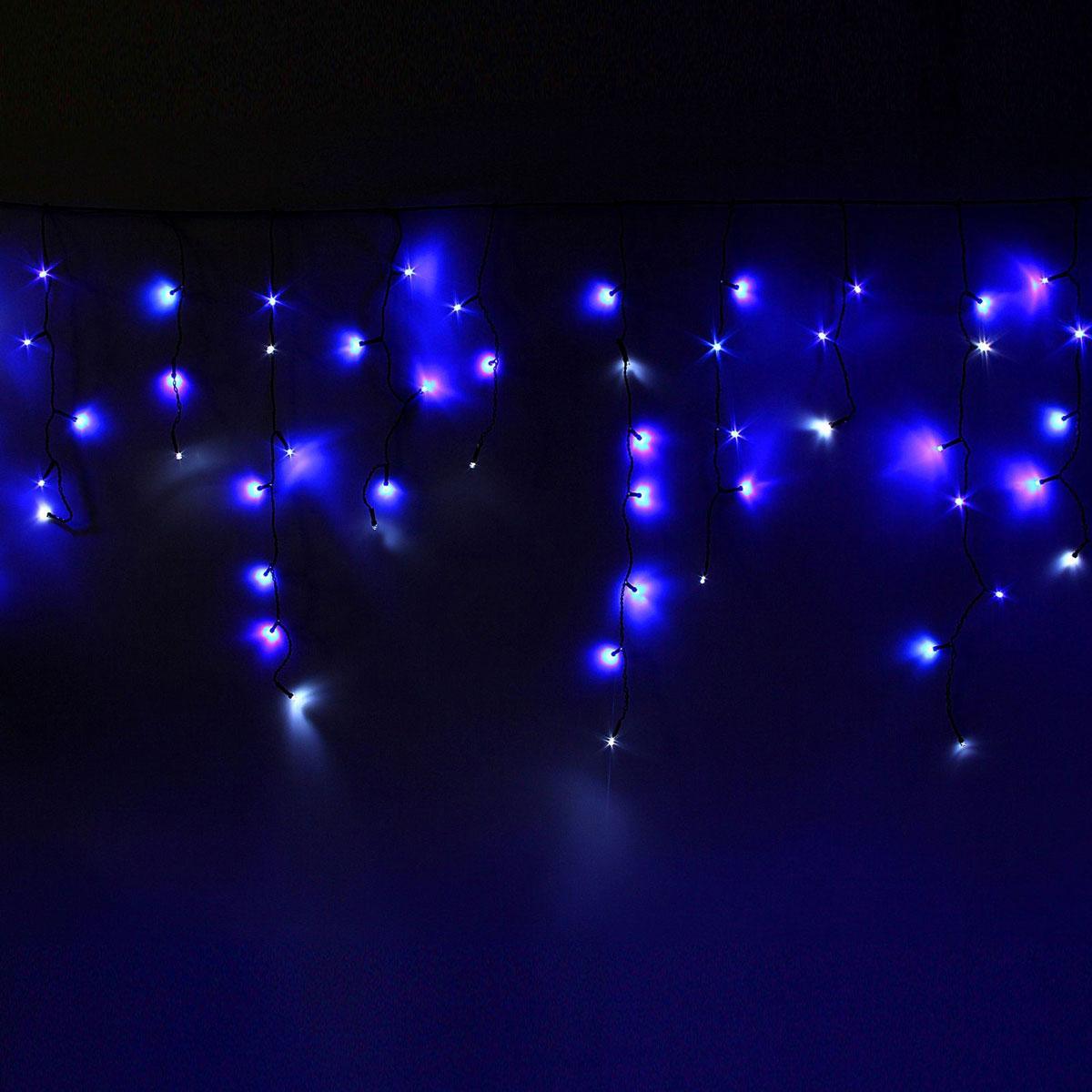 Гирлянда светодиодная Luazon Бахрома, эффект мерцания, 120 ламп, 220 V, цвет: синий, белый, 2,4 х 0,6 м. 10804181080418Светодиодные гирлянды, ленты и т.д — это отличный вариант для новогоднего оформления интерьера или фасада. С их помощью помещение любого размера можно превратить в праздничный зал, а внешние элементы зданий, украшенные ими, мгновенно станут напоминать очертания сказочного дворца. Такие украшения создают ауру предвкушения чуда. Деревья, фасады, витрины, окна и арки будто специально созданы, чтобы вы украсили их светящимися нитями.