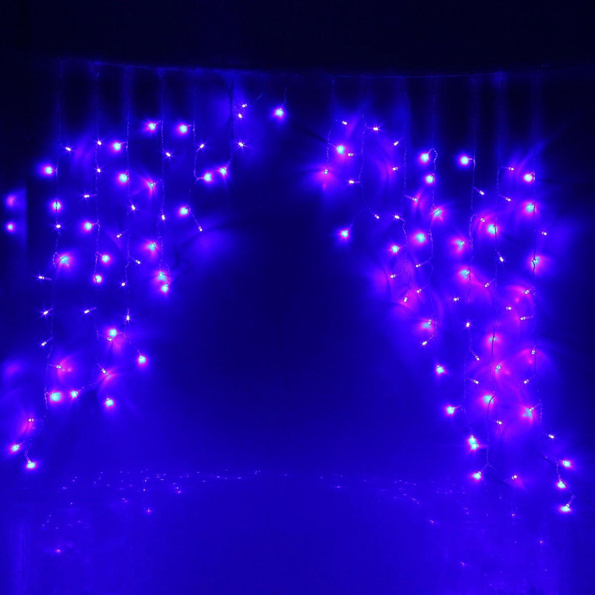 Гирлянда светодиодная Luazon Бахрома. Арка, 8 режимов, 126 ламп, 220 V, цвет: синий, 1 х 1 м. 10804311080431Светодиодные гирлянды, ленты и т.д — это отличный вариант для новогоднего оформления интерьера или фасада. С их помощью помещение любого размера можно превратить в праздничный зал, а внешние элементы зданий, украшенные ими, мгновенно станут напоминать очертания сказочного дворца. Такие украшения создают ауру предвкушения чуда. Деревья, фасады, витрины, окна и арки будто специально созданы, чтобы вы украсили их светящимися нитями.