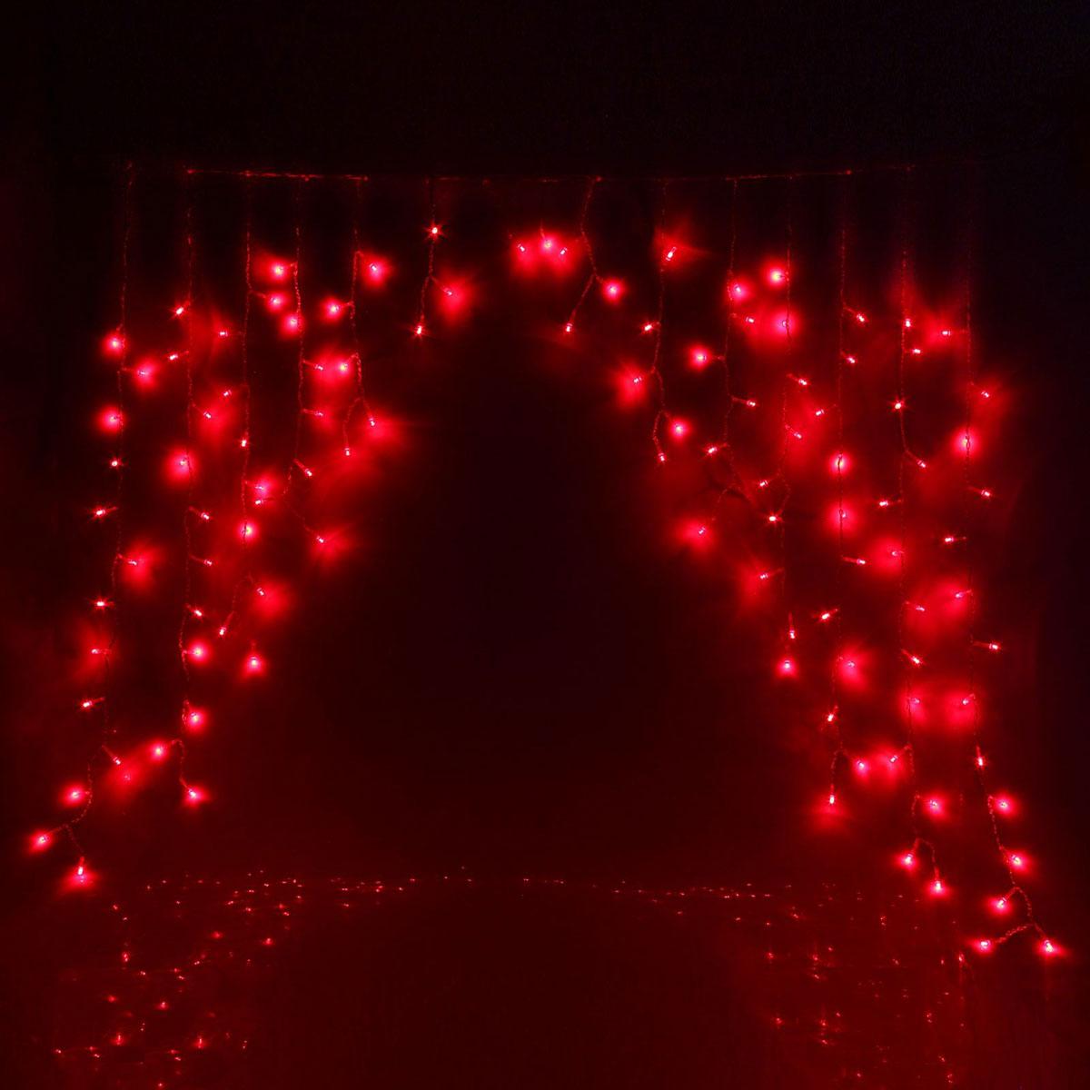 Гирлянда светодиодная Luazon Бахрома. Арка, 8 режимов, 126 ламп, 220 V, цвет: красный, 1 х 1 м. 10804321080432Светодиодные гирлянды, ленты и т.д — это отличный вариант для новогоднего оформления интерьера или фасада. С их помощью помещение любого размера можно превратить в праздничный зал, а внешние элементы зданий, украшенные ими, мгновенно станут напоминать очертания сказочного дворца. Такие украшения создают ауру предвкушения чуда. Деревья, фасады, витрины, окна и арки будто специально созданы, чтобы вы украсили их светящимися нитями.