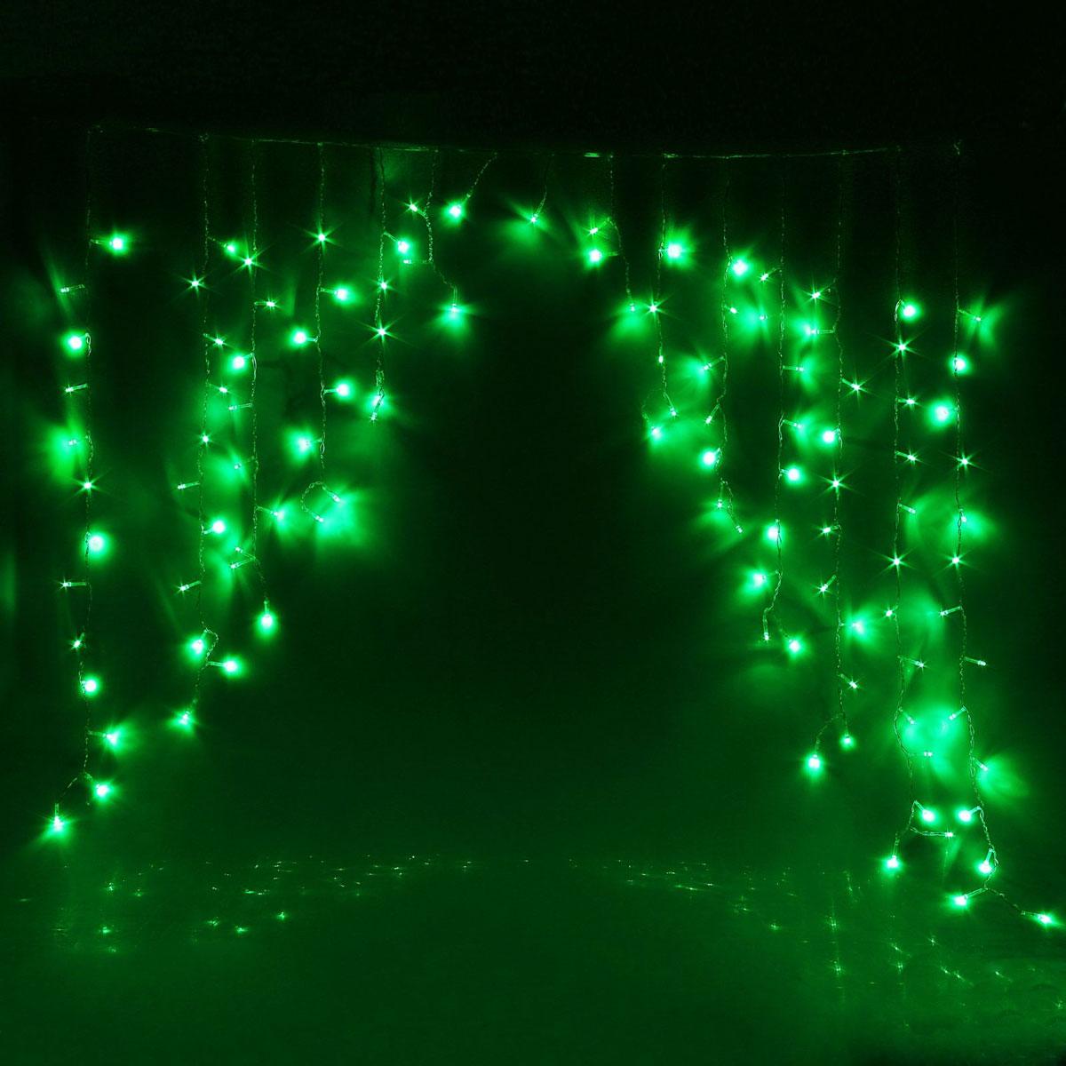 Гирлянда светодиодная Luazon Бахрома. Арка, 8 режимов, 126 ламп, 220 V, цвет: зеленый, 1 х 1 м. 10804331080433Светодиодные гирлянды, ленты и т.д — это отличный вариант для новогоднего оформления интерьера или фасада. С их помощью помещение любого размера можно превратить в праздничный зал, а внешние элементы зданий, украшенные ими, мгновенно станут напоминать очертания сказочного дворца. Такие украшения создают ауру предвкушения чуда. Деревья, фасады, витрины, окна и арки будто специально созданы, чтобы вы украсили их светящимися нитями.