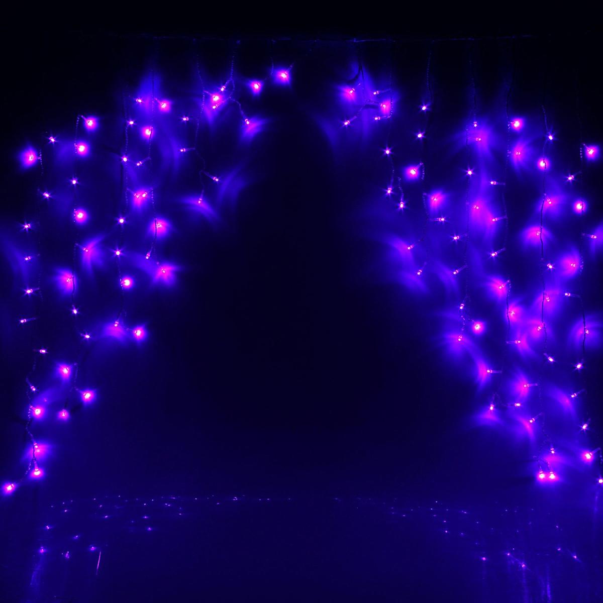 Гирлянда светодиодная Luazon Бахрома. Арка, 8 режимов, 126 ламп, 220 V, цвет: фиолетовый, 1 х 1 м. 10804351080435Светодиодные гирлянды, ленты и т.д — это отличный вариант для новогоднего оформления интерьера или фасада. С их помощью помещение любого размера можно превратить в праздничный зал, а внешние элементы зданий, украшенные ими, мгновенно станут напоминать очертания сказочного дворца. Такие украшения создают ауру предвкушения чуда. Деревья, фасады, витрины, окна и арки будто специально созданы, чтобы вы украсили их светящимися нитями.