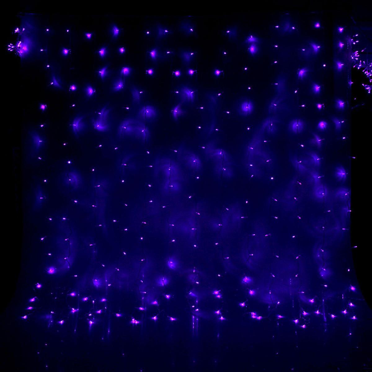 Гирлянда светодиодная Luazon Занавес, цвет: фиолетовый, 360 ламп, 8 режимов, 220 V, 2 х 1,5 м. 10804671080467Светодиодные гирлянды и ленты — это отличный вариант для новогоднего оформления интерьера или фасада. С их помощью помещение любого размера можно превратить в праздничный зал, а внешние элементы зданий, украшенные ими, мгновенно станут напоминать очертания сказочного дворца. Такие украшения создают ауру предвкушения чуда. Деревья, фасады, витрины, окна и арки будто специально созданы, чтобы вы украсили их светящимися нитями.