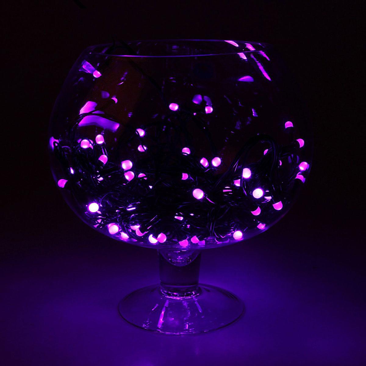 Гирлянда светодиодная Luazon Метраж, уличная, 8 режимов, 100 ламп, 220 V, 10 м, цвет: фиолетовый. 10805561080556Светодиодные гирлянды, ленты и т.д. — это отличный вариант для новогоднего оформления интерьера или фасада. С их помощью помещение любого размера можно превратить в праздничный зал, а внешние элементы зданий, украшенные ими, мгновенно станут напоминать очертания сказочного дворца. Такие украшения создают ауру предвкушения чуда. Деревья, фасады, витрины, окна и арки будто специально созданы, чтобы вы украсили их светящимися нитями.