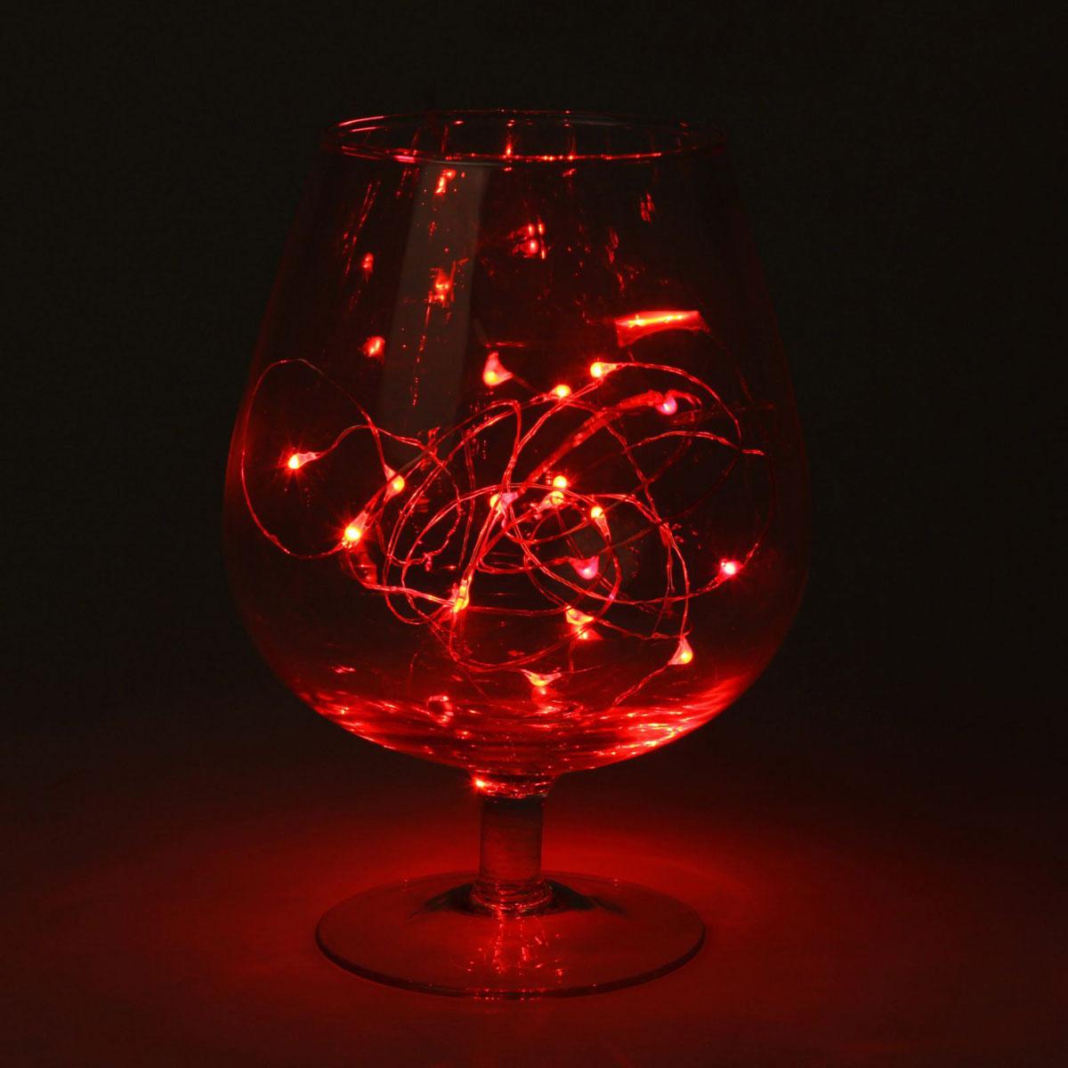 Гирлянда светодиодная Luazon Метраж. Капля росы, цвет: красный, 20 ламп, 2 режима, 3,6 V, длина 2 м. 1080583 гирлянда luazon конский хвост капля росы 2 5m led 750 12v multicolor 1080622