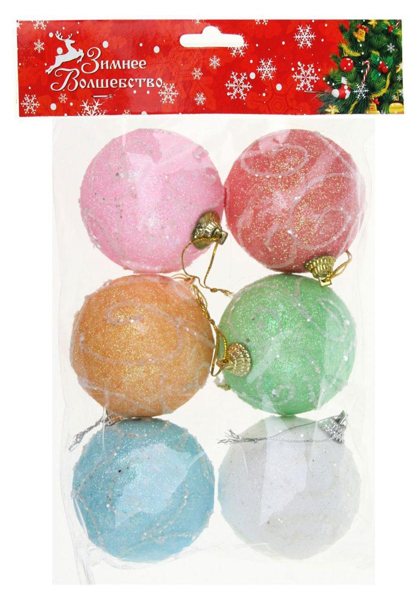 Набор новогодних подвесных украшений Sima-land Шары. Завитушки, диаметр 6 см, 6 шт1401722Набор новогодних подвесных украшений Sima-land отлично подойдет для декорации вашего дома и новогодней ели. С помощью специальной петельки украшение можно повесить в любом понравившемся вам месте. Но, конечно, удачнее всего оно будет смотреться на праздничной елке. Елочная игрушка - символ Нового года. Она несет в себе волшебство и красоту праздника. Создайте в своем доме атмосферу веселья и радости, украшая новогоднюю елку нарядными игрушками, которые будут из года в год накапливать теплоту воспоминаний.