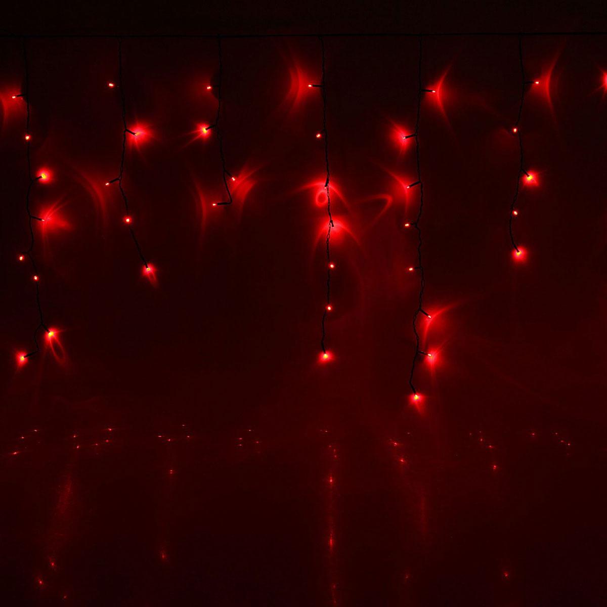 Гирлянда светодиодная Luazon Бахрома, 8 режимов, 96 ламп, 220 V, цвет: красный, 3 х 0,7 м. 1585768 лонда 10 96 отзывы