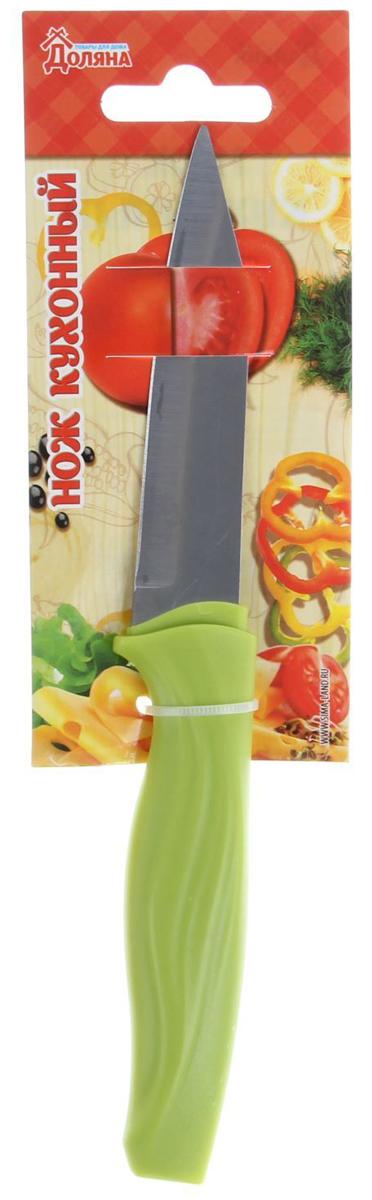 Нож для чистки овощей Доляна Оберон, цвет: салатовый, длина лезвия 9 см1702346Нож для чистки овощей Доляна Оберон, изготовленный из высококачественного металла,оснащен пластиковой ручкой. Нож идеален для нарезки овощей и фруктов. Изделиепредназначено для профессионального и домашнего использования. В нем отличносбалансированы лезвия и ручка, позволяя резать быстрее и комфортнее. Лезвие ножа невпитывает запахи, оставляя натуральный вкус продуктов.Общая длина ножа: 19 см.