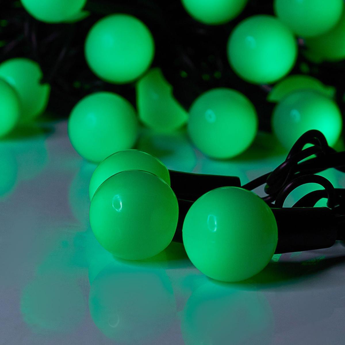 Гирлянда светодиодная Luazon Метраж. Шарики большие, уличная с насадкой, 8 режимов, 50 ламп, 220 V, 6 м, цвет: зеленый. 185534185534Светодиодные гирлянды, ленты и т.д. — это отличный вариант для новогоднего оформления интерьера или фасада. С их помощью помещение любого размера можно превратить в праздничный зал, а внешние элементы зданий, украшенные ими, мгновенно станут напоминать очертания сказочного дворца. Такие украшения создают ауру предвкушения чуда. Деревья, фасады, витрины, окна и арки будто специально созданы, чтобы вы украсили их светящимися нитями.