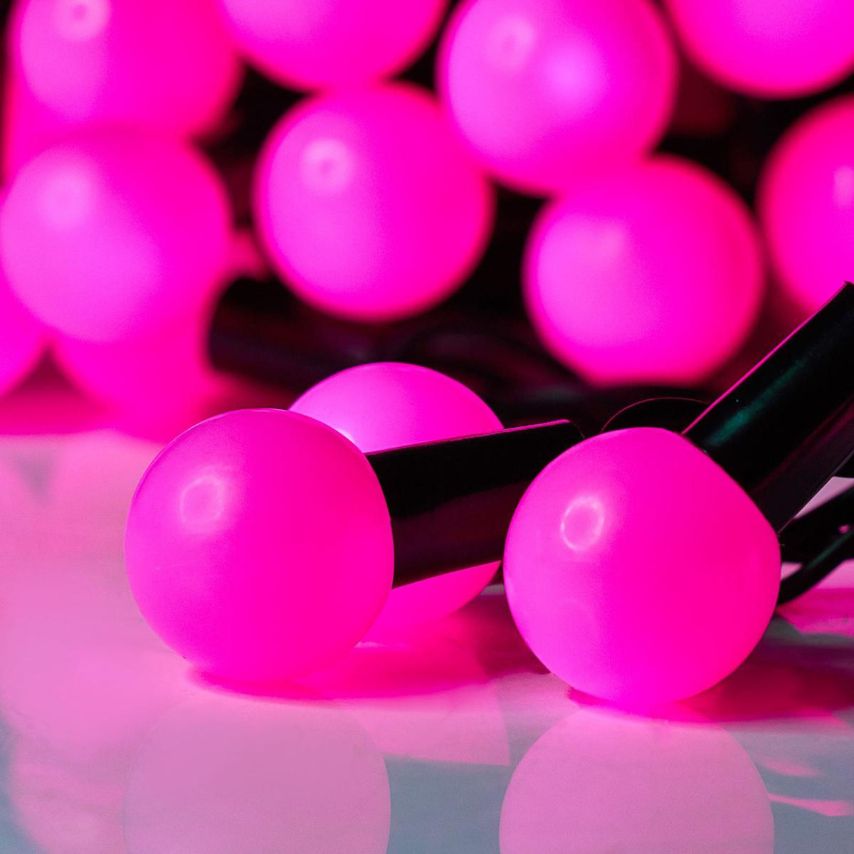Гирлянда светодиодная Luazon Метраж. Шарики большие, уличная с насадкой, 8 режимов, 50 ламп, 220 V, 6 м, цвет: розовый. 185536185536Светодиодные гирлянды, ленты и т.д. — это отличный вариант для новогоднего оформления интерьера или фасада. С их помощью помещение любого размера можно превратить в праздничный зал, а внешние элементы зданий, украшенные ими, мгновенно станут напоминать очертания сказочного дворца. Такие украшения создают ауру предвкушения чуда. Деревья, фасады, витрины, окна и арки будто специально созданы, чтобы вы украсили их светящимися нитями.