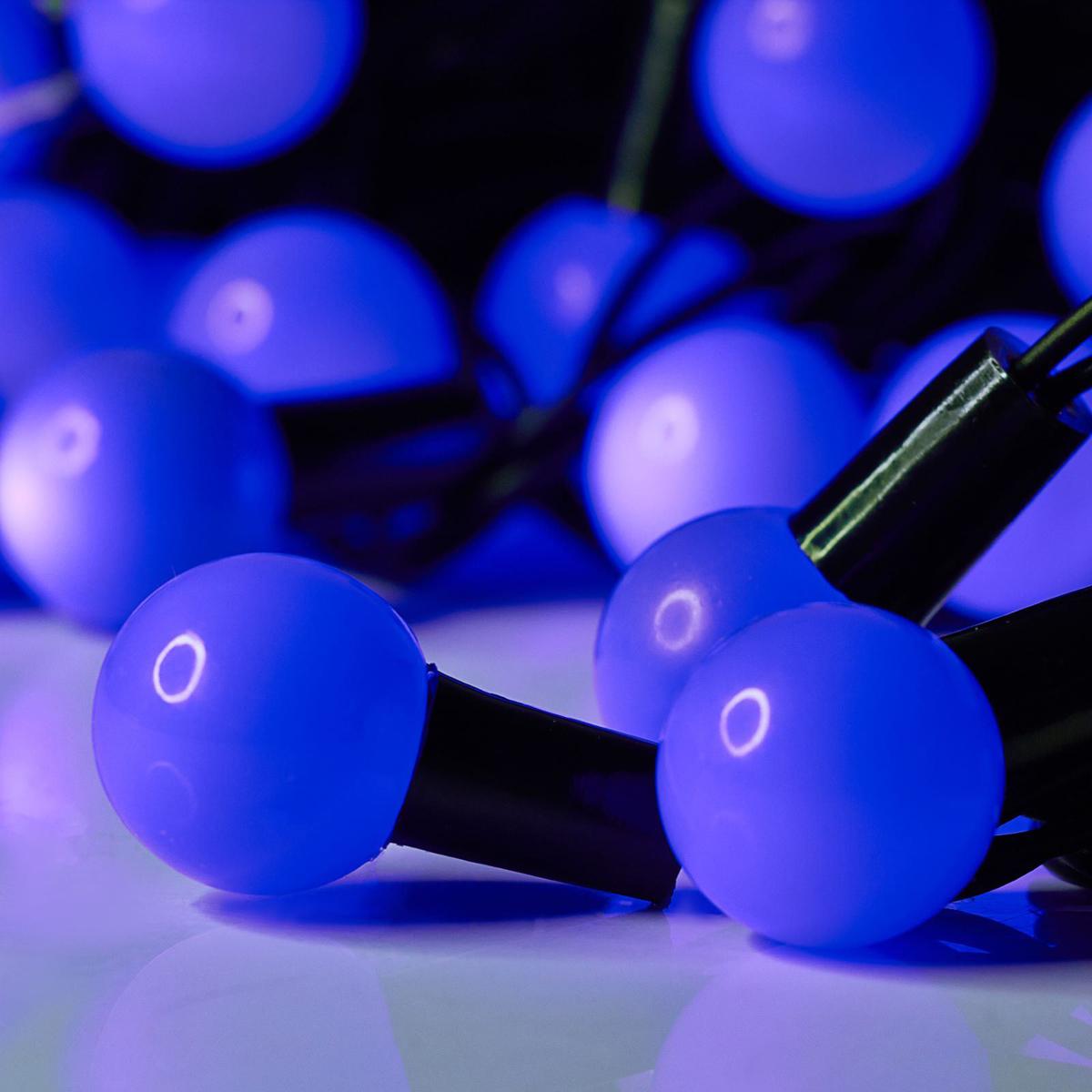 Гирлянда светодиодная Luazon Метраж. Шарики большие, уличная с насадкой, 8 режимов, 50 ламп, 220 V, 6 м, цвет: фиолетовый. 185537185537Светодиодные гирлянды, ленты и т.д. — это отличный вариант для новогоднего оформления интерьера или фасада. С их помощью помещение любого размера можно превратить в праздничный зал, а внешние элементы зданий, украшенные ими, мгновенно станут напоминать очертания сказочного дворца. Такие украшения создают ауру предвкушения чуда. Деревья, фасады, витрины, окна и арки будто специально созданы, чтобы вы украсили их светящимися нитями.