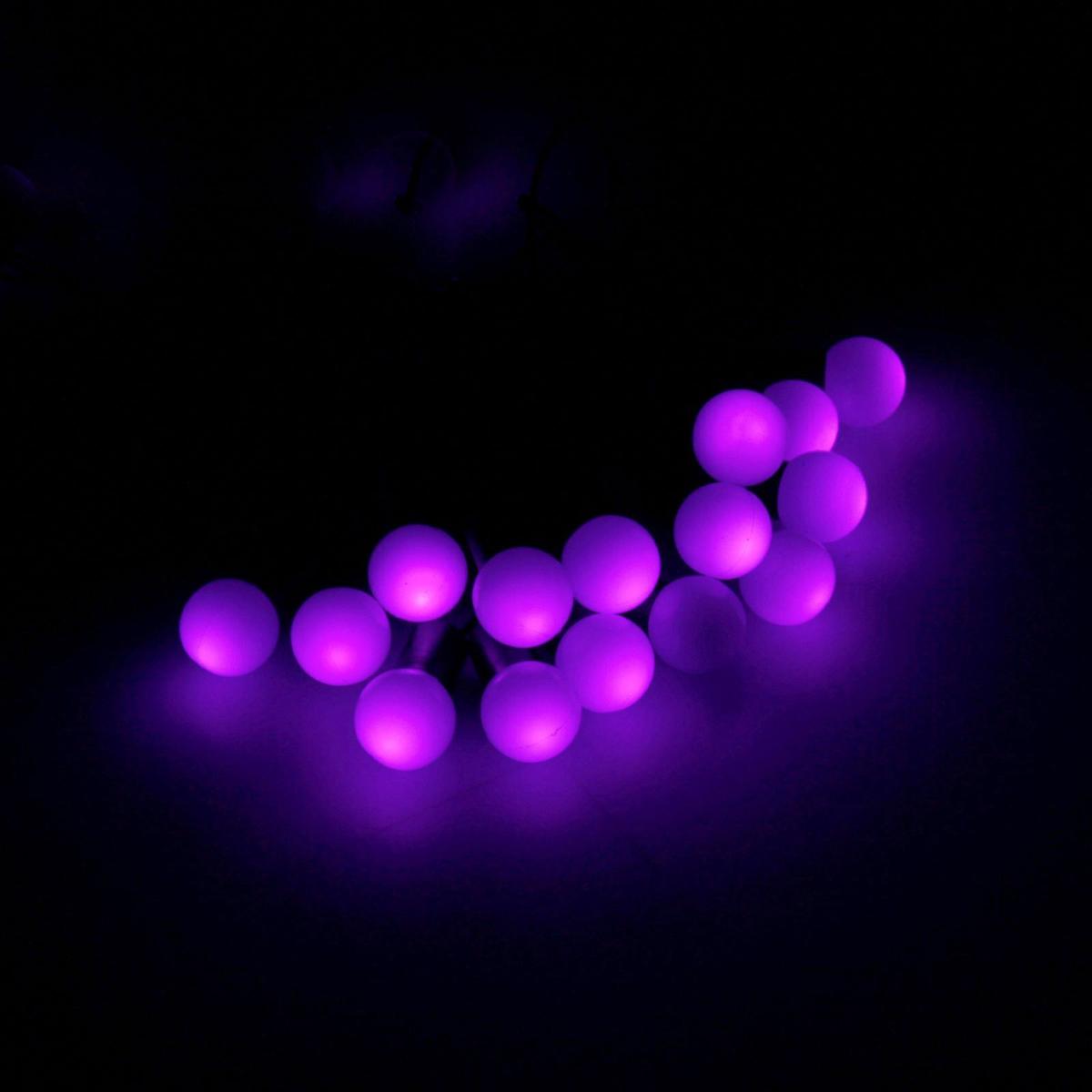 Гирлянда светодиодная Luazon Метраж. Шарики большие, уличная с насадкой, 8 режимов, 100 ламп, 220 V, 10 м, цвет: фиолетовый. 185544185544Светодиодные гирлянды, ленты и т.д. — это отличный вариант для новогоднего оформления интерьера или фасада. С их помощью помещение любого размера можно превратить в праздничный зал, а внешние элементы зданий, украшенные ими, мгновенно станут напоминать очертания сказочного дворца. Такие украшения создают ауру предвкушения чуда. Деревья, фасады, витрины, окна и арки будто специально созданы, чтобы вы украсили их светящимися нитями.