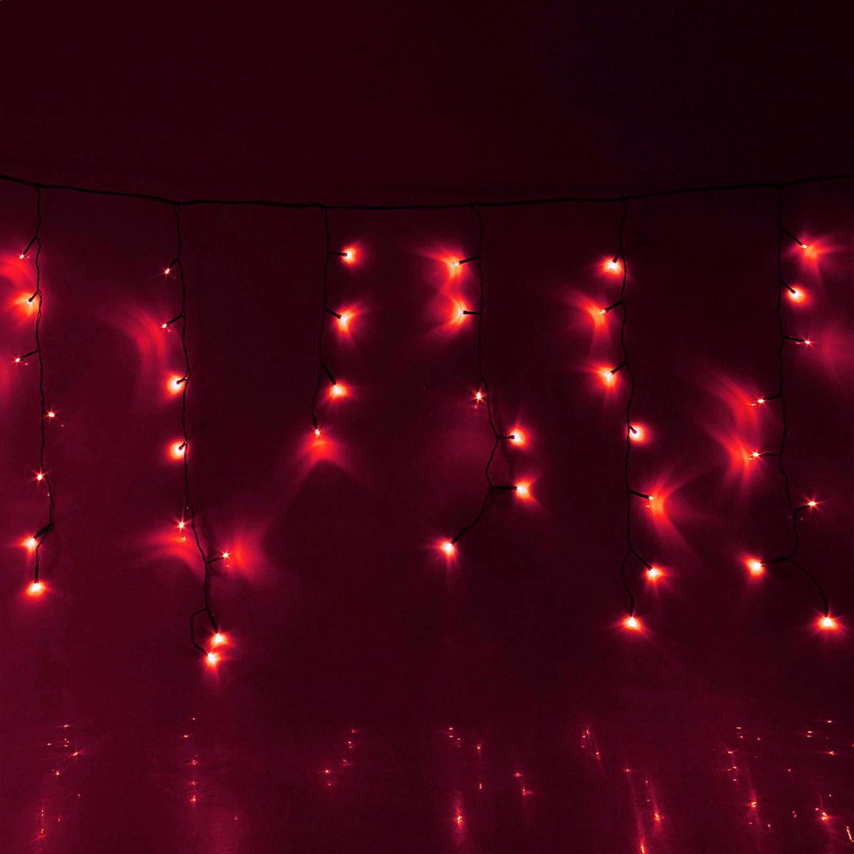 Гирлянда светодиодная Luazon Бахрома, уличная, 8 режимов, 120 ламп, 220 V, цвет: красный, 2 х 0,6 м. 187266187266Светодиодные гирлянды, ленты и т.д — это отличный вариант для новогоднего оформления интерьера или фасада. С их помощью помещение любого размера можно превратить в праздничный зал, а внешние элементы зданий, украшенные ими, мгновенно станут напоминать очертания сказочного дворца. Такие украшения создают ауру предвкушения чуда. Деревья, фасады, витрины, окна и арки будто специально созданы, чтобы вы украсили их светящимися нитями.