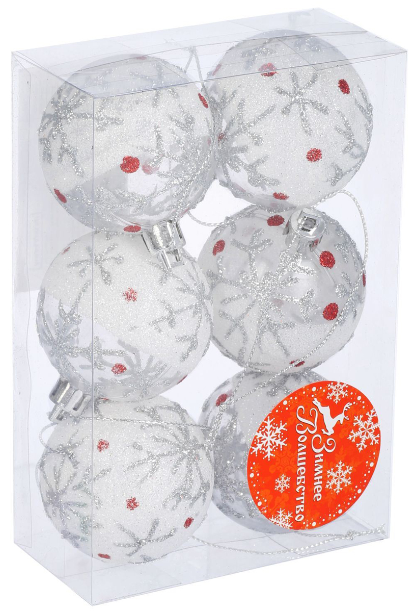 Набор новогодних подвесных украшений Sima-land Красная капелька. Снежинка, диаметр 5 см, 6 шт свеча ароматизированная sima land лимон на подставке высота 6 см