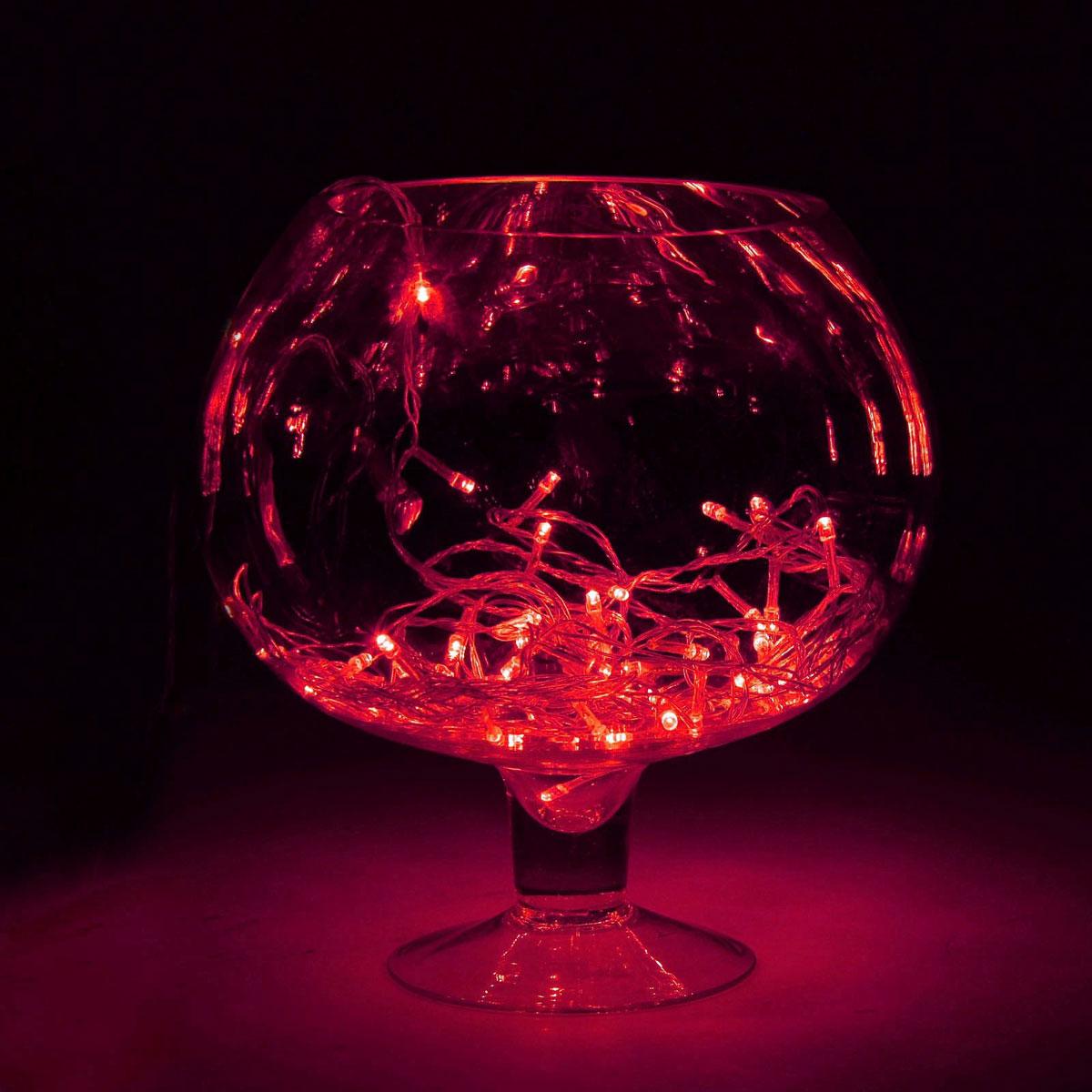 Гирлянда светодиодная Sima-land Метраж, 8 режимов, 100 ламп, 220 V, 9 м, цвет: красный. 671032